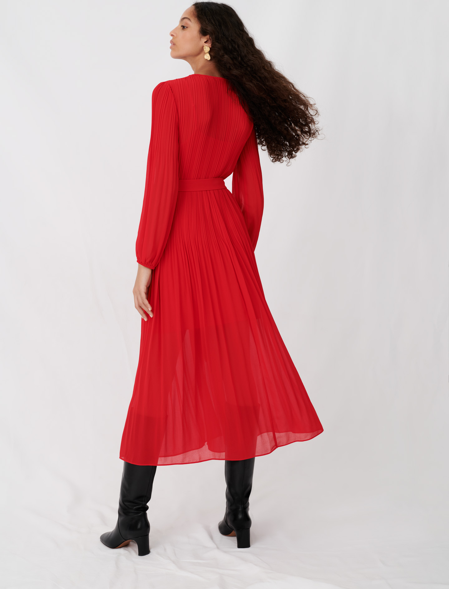 Pleated and belted muslin dress - Red