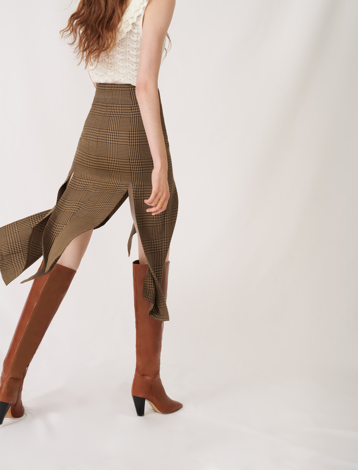 Asymmetric skirt with flaps and checks  - Brown