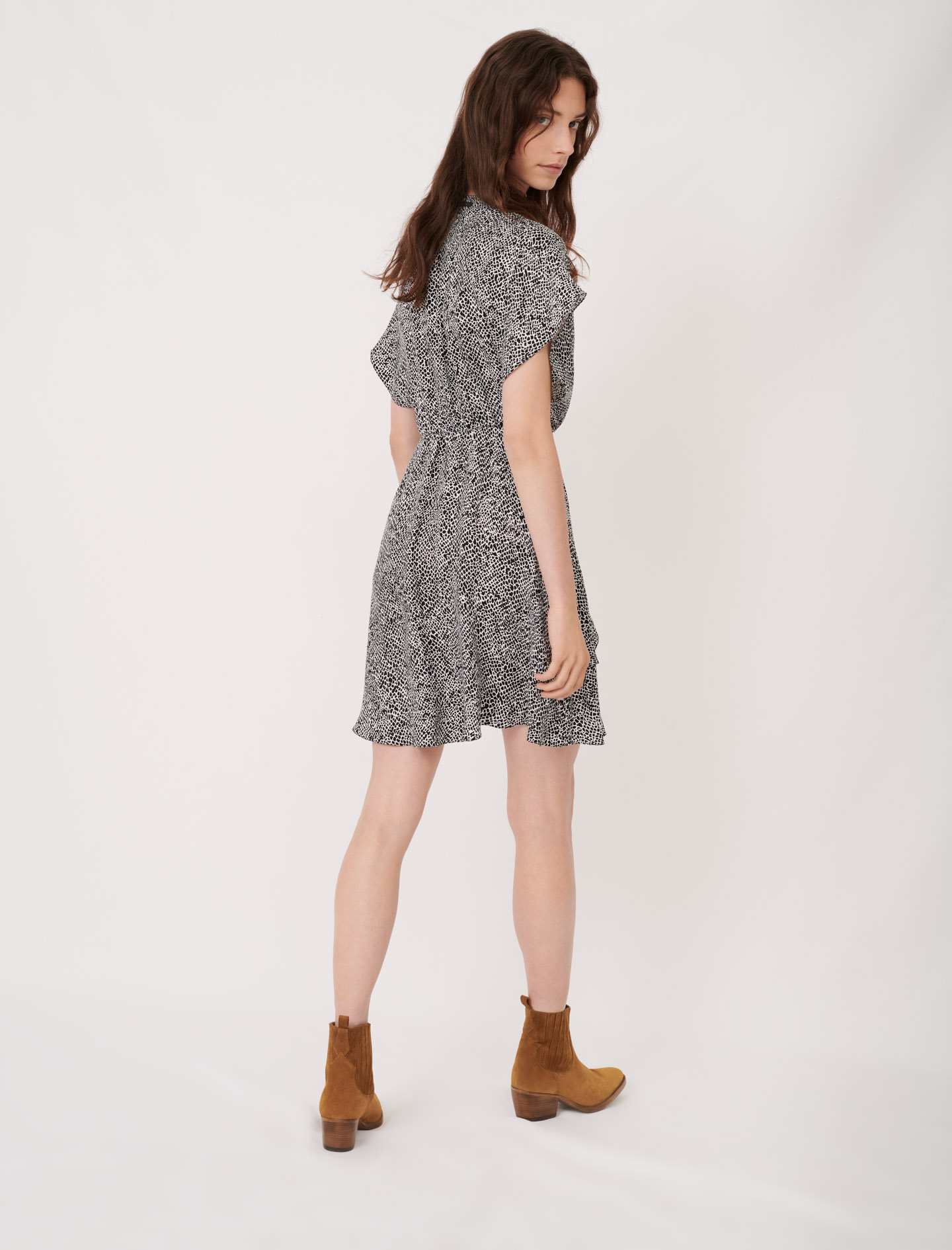 Asymmetric animal print dress - Multiclr