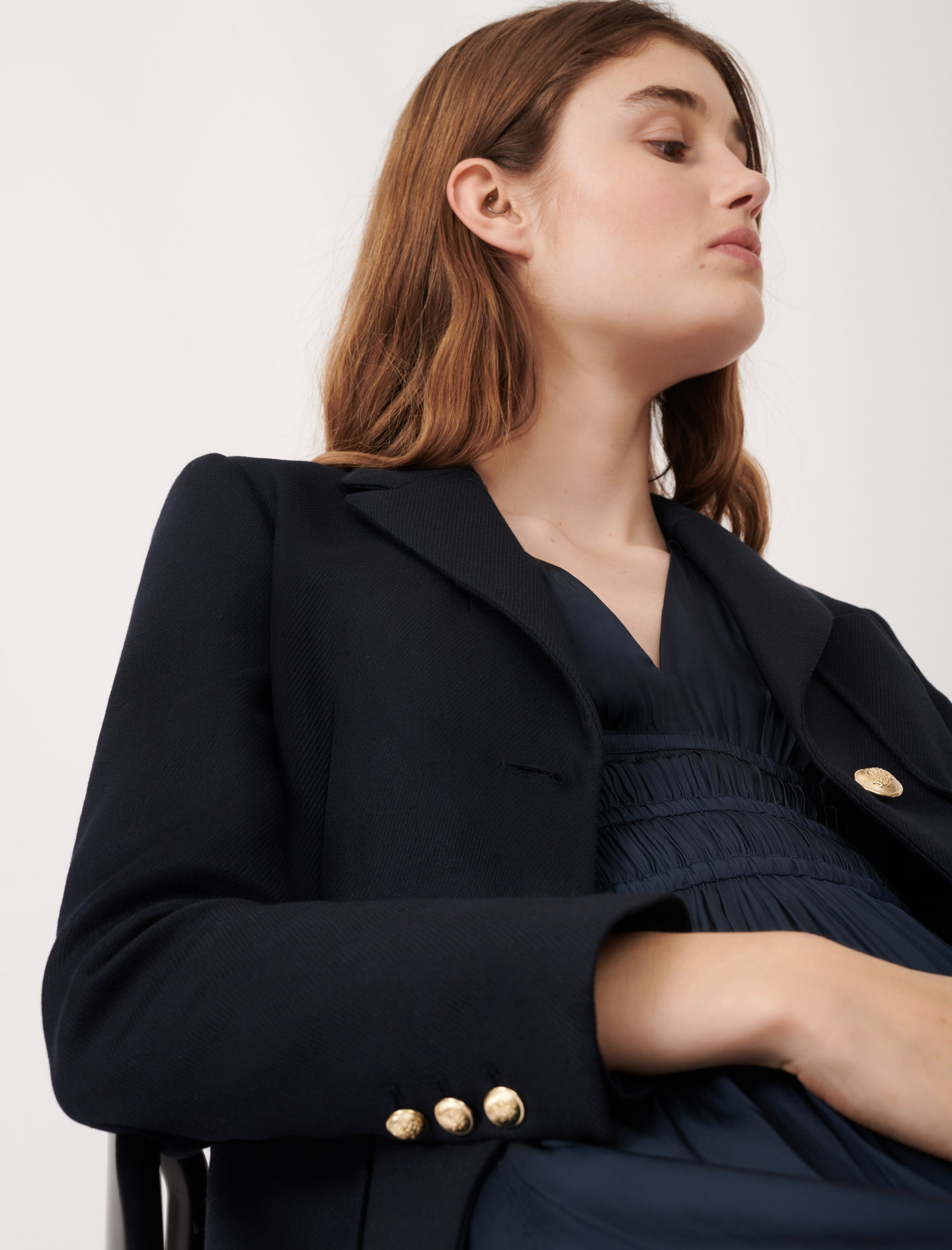 College-style suit jacket  - Navy