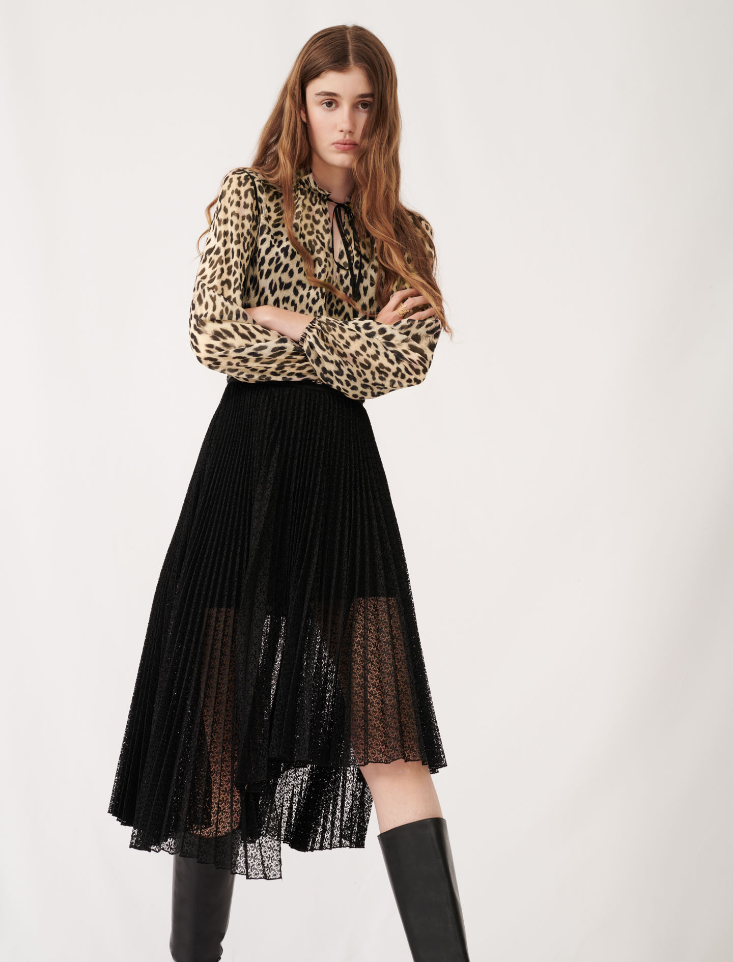 Asymmetric plissée lace skirt - Black