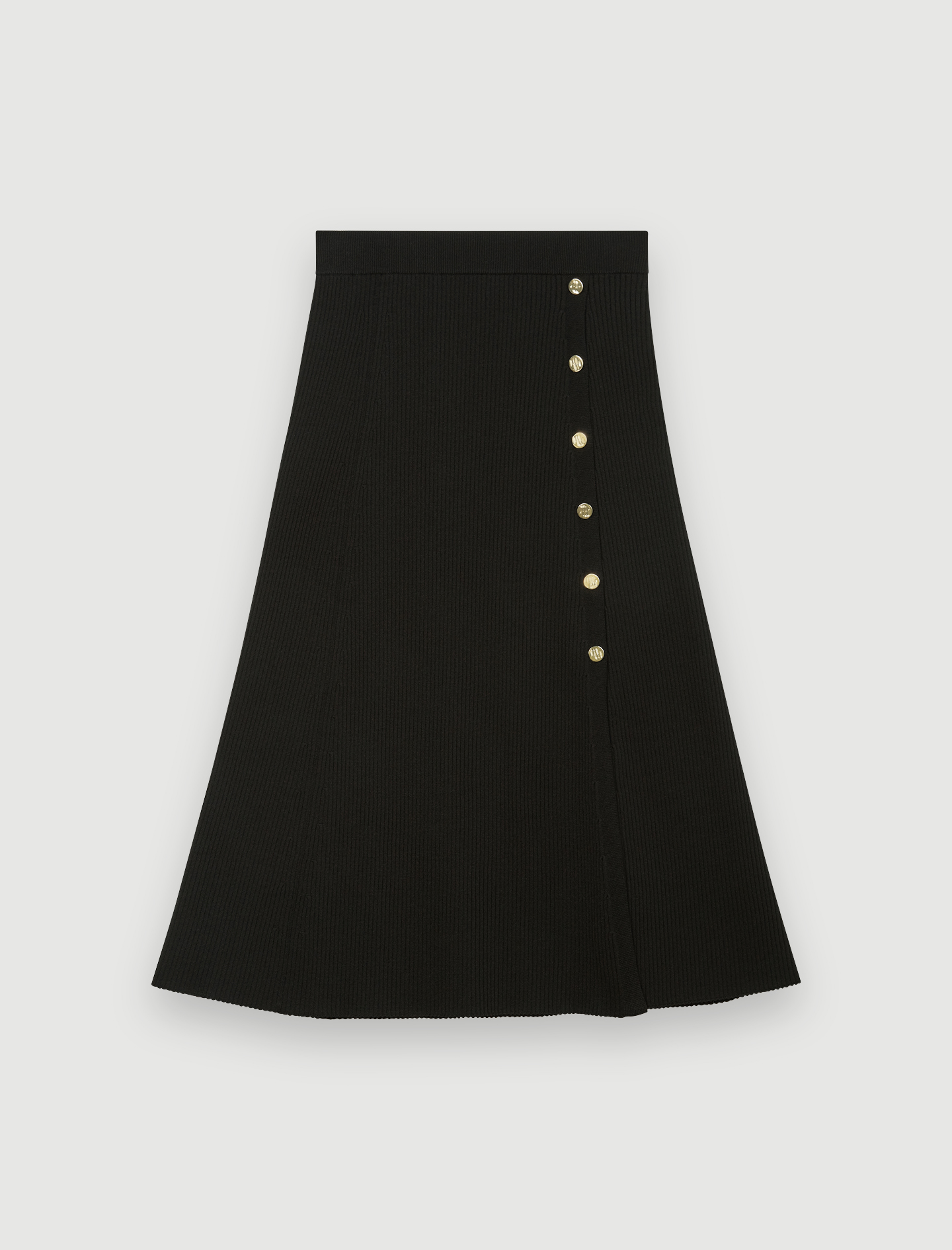 Knitted midi skirt with slit and buttons - Black