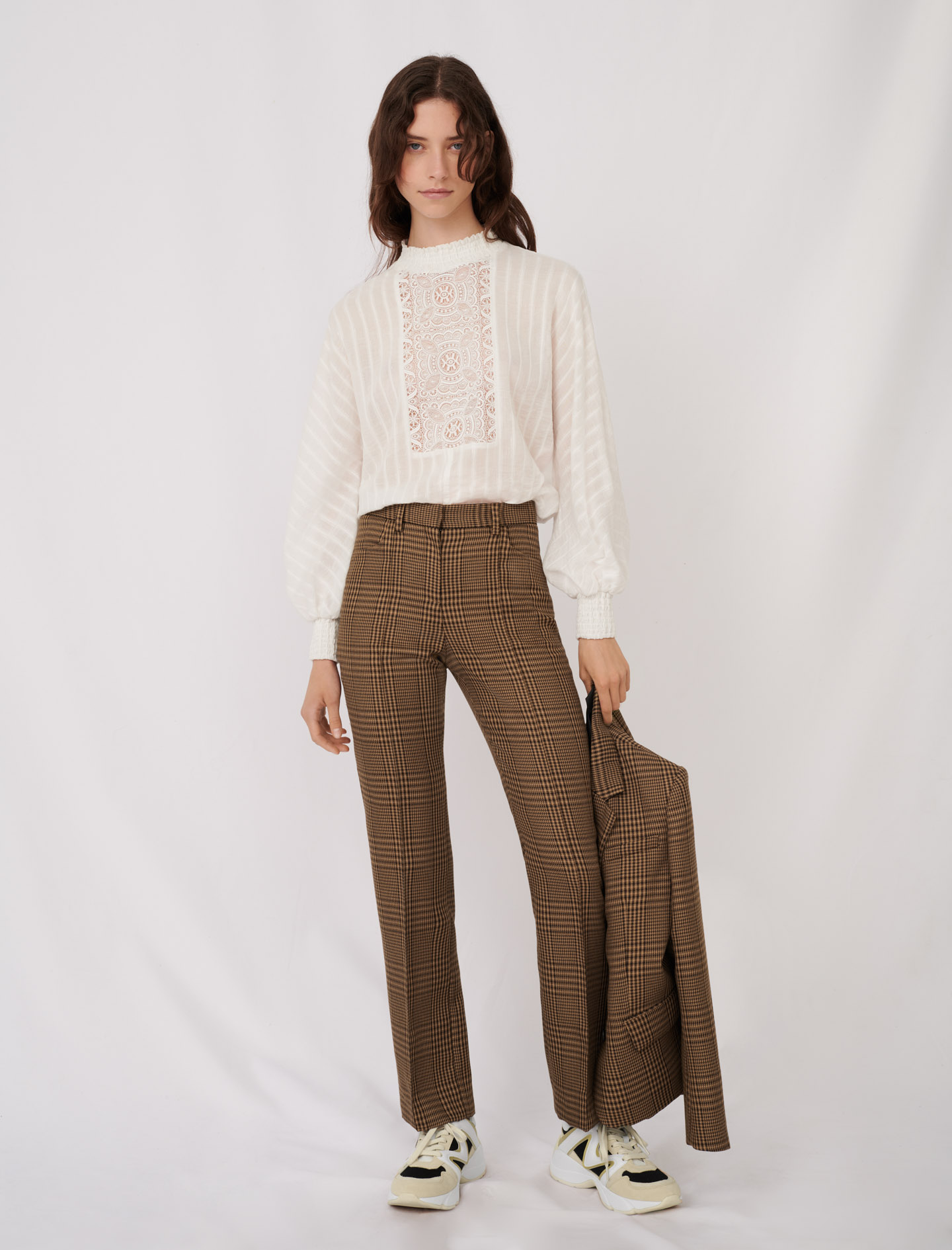 Straight cut checked trousers - Brown