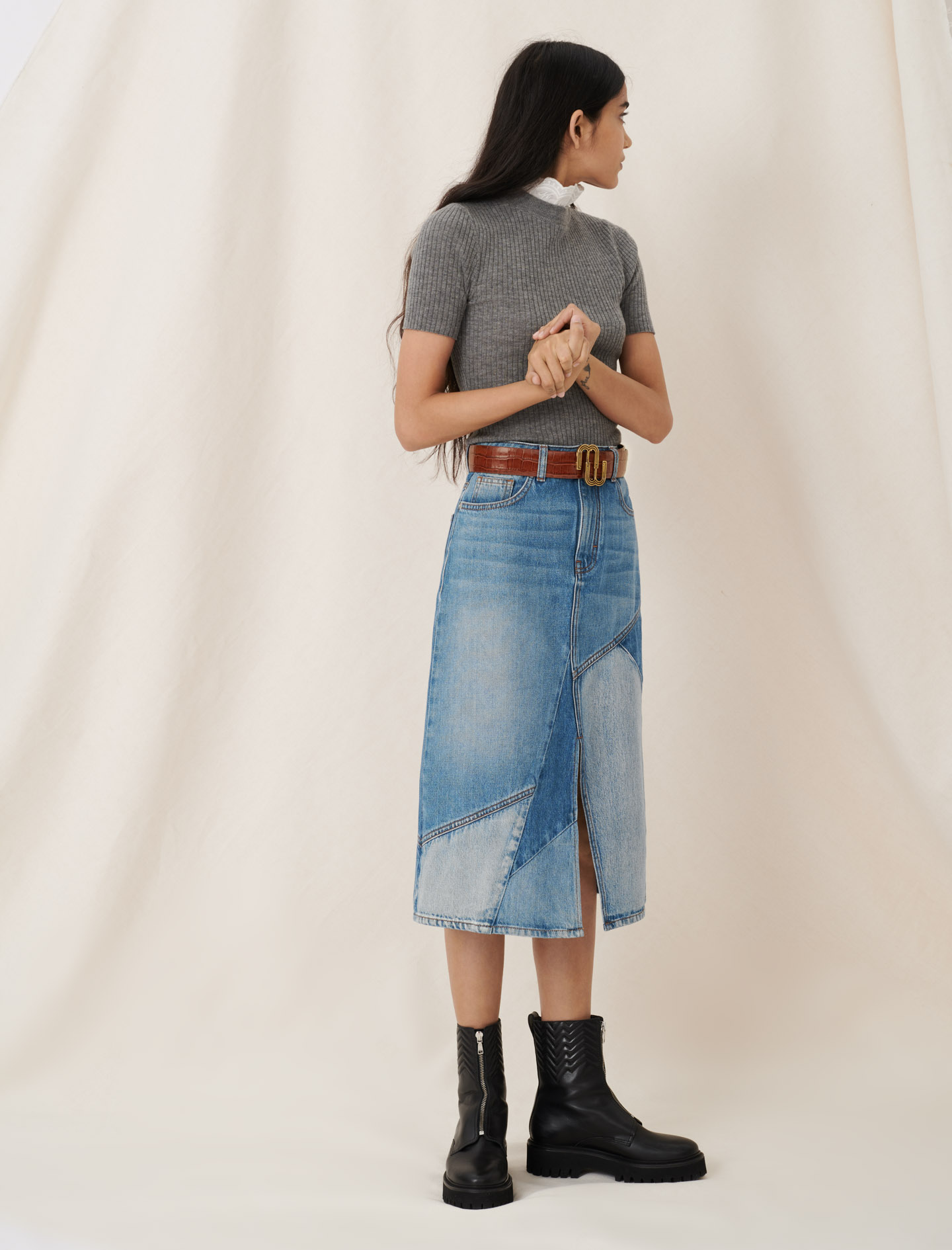 Midi denim skirt with patches and slit - Blue