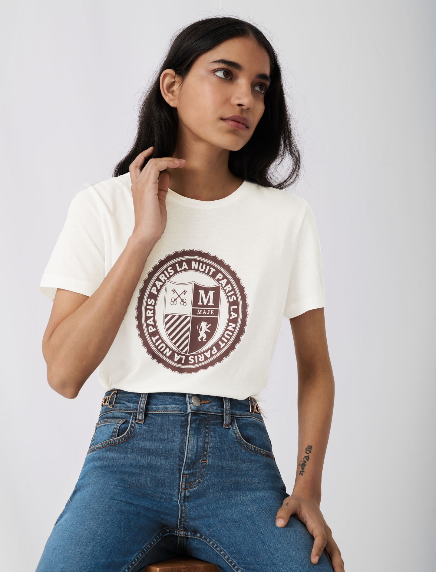 Screen-printed college-style T-shirt - White