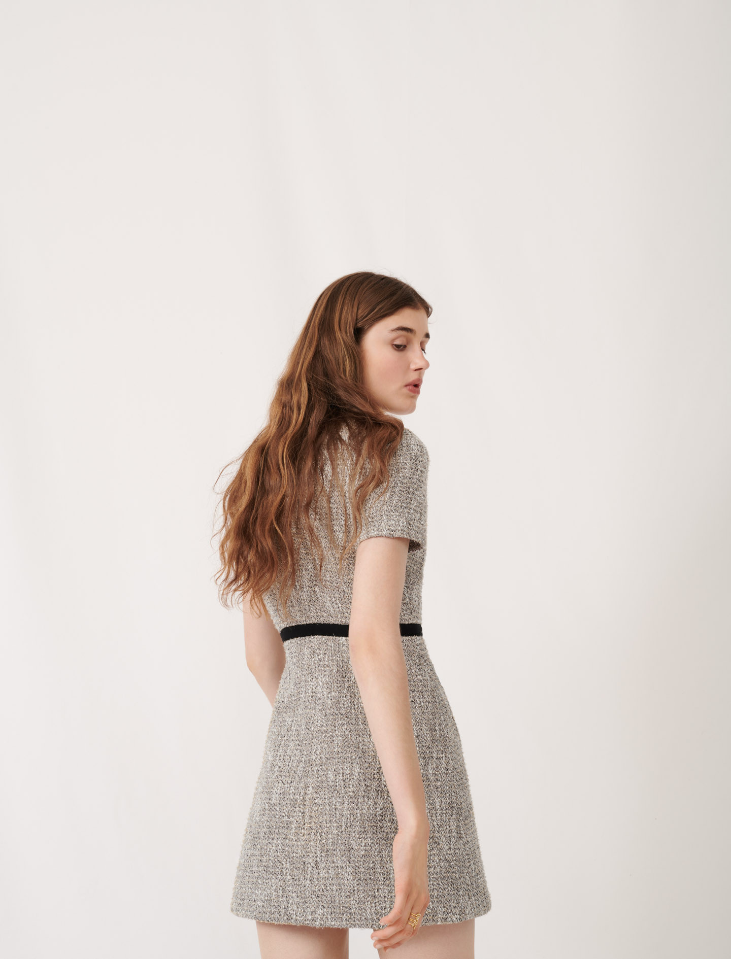 Tweed-style dress with contrast details - Silver
