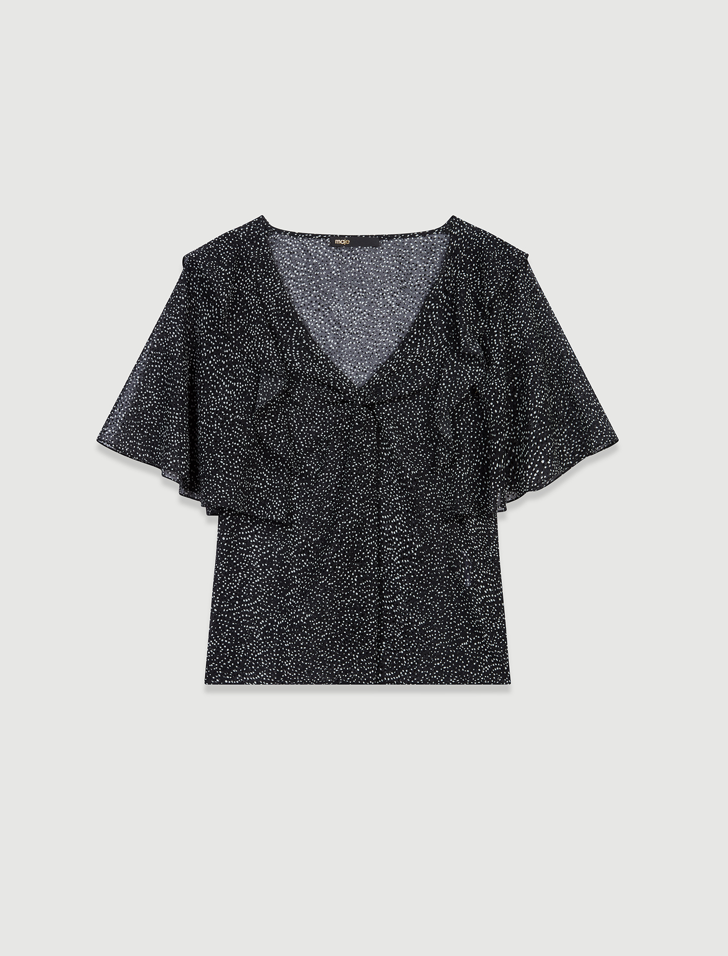 Muslin top with velvet flocking  - Multiclr
