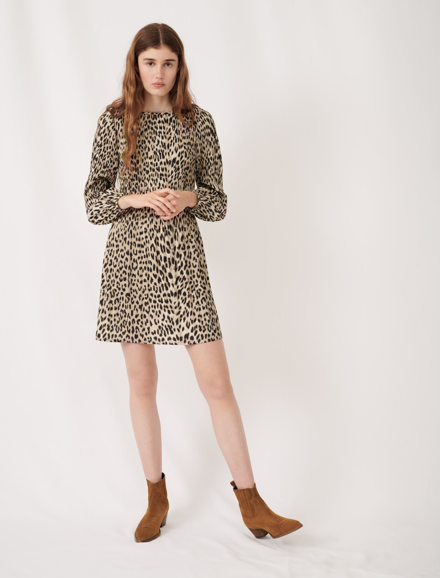 Plissée animal print dress - Multiclr