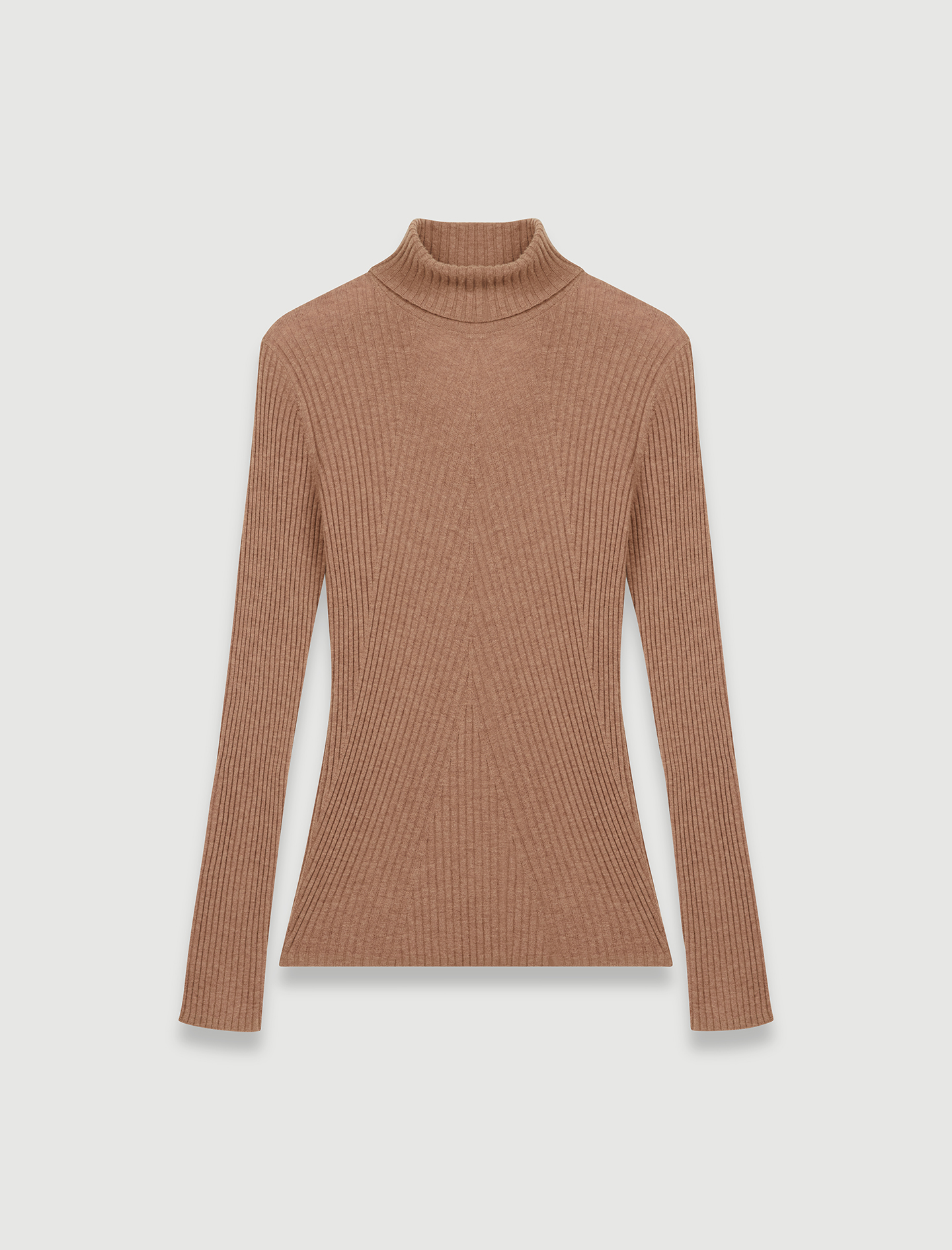High neck fine knit camel sweater  - Camel
