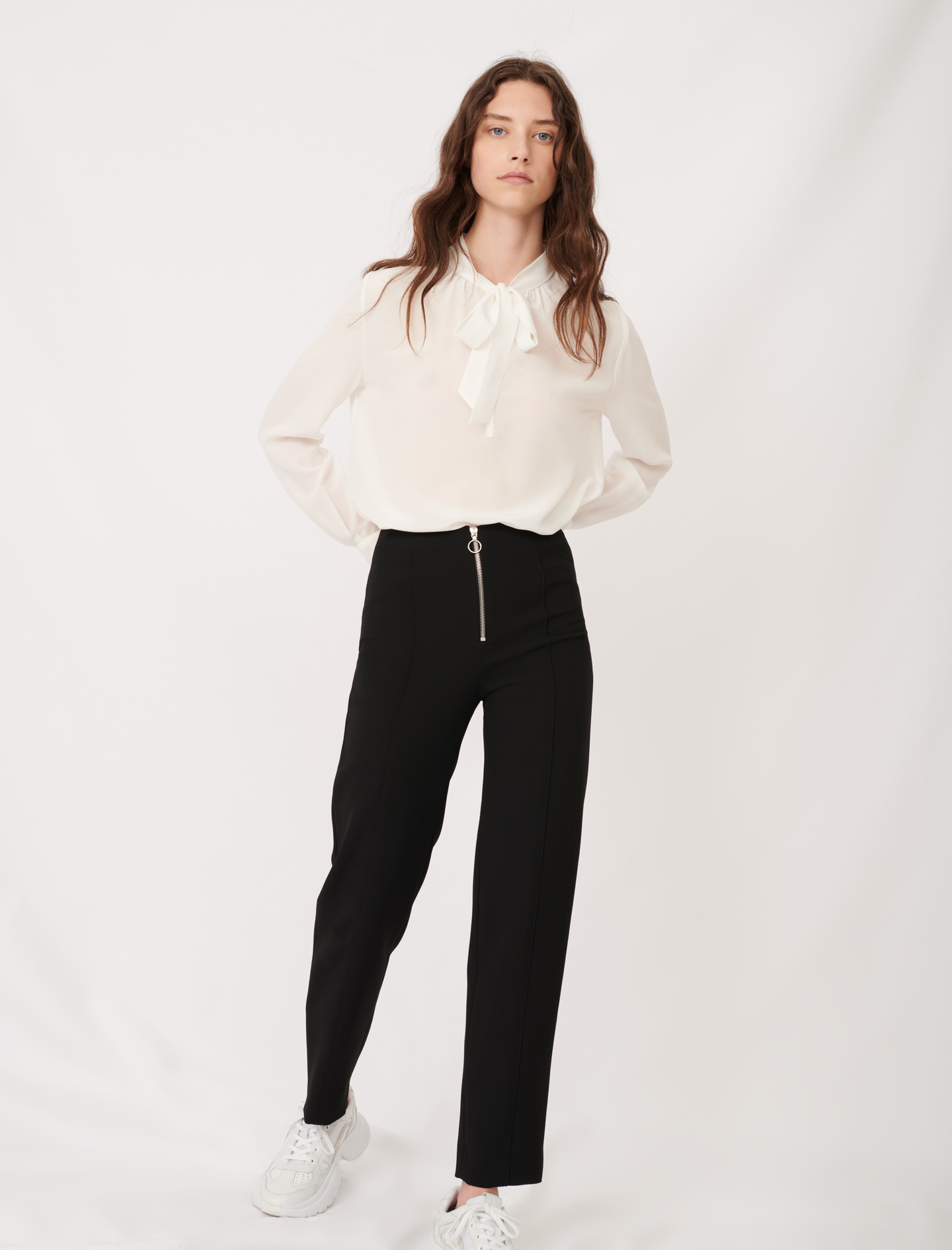 Recycled polyester straight cut trousers - Black
