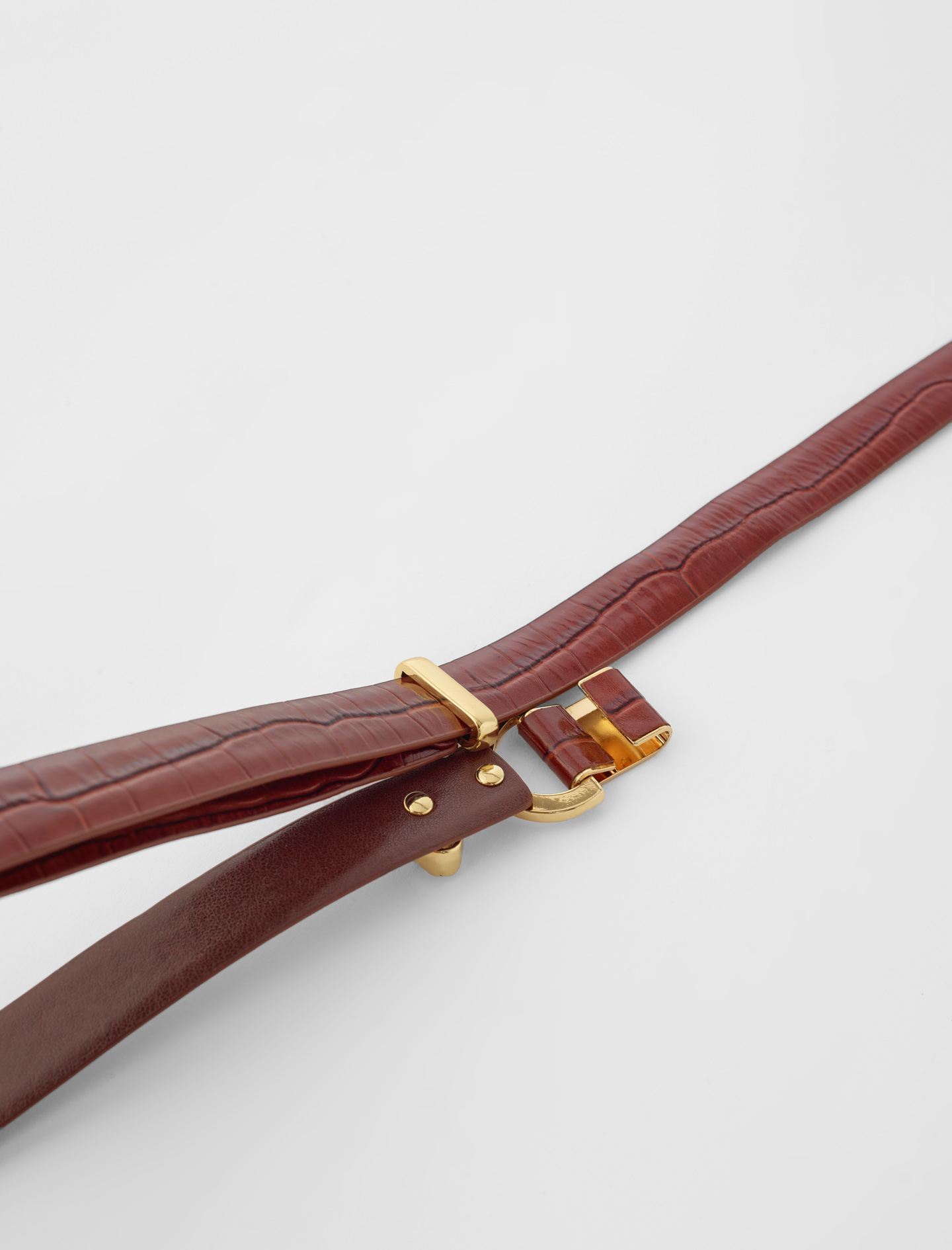 Embossed leather and lion horsebit belt - Brown