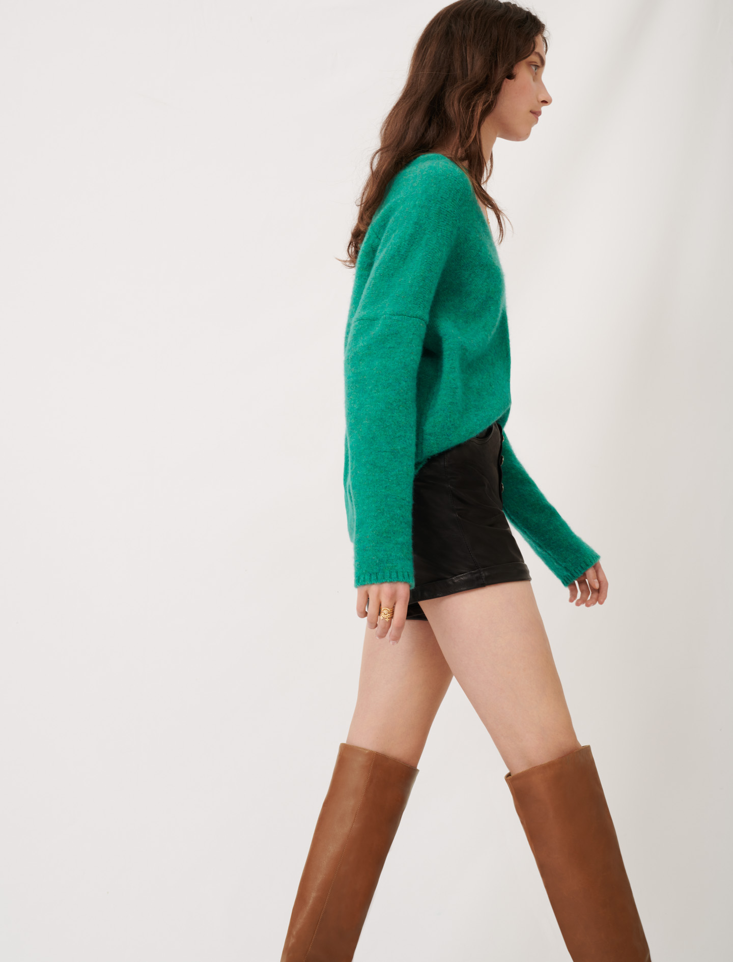 V-neck marl sweater  - Green