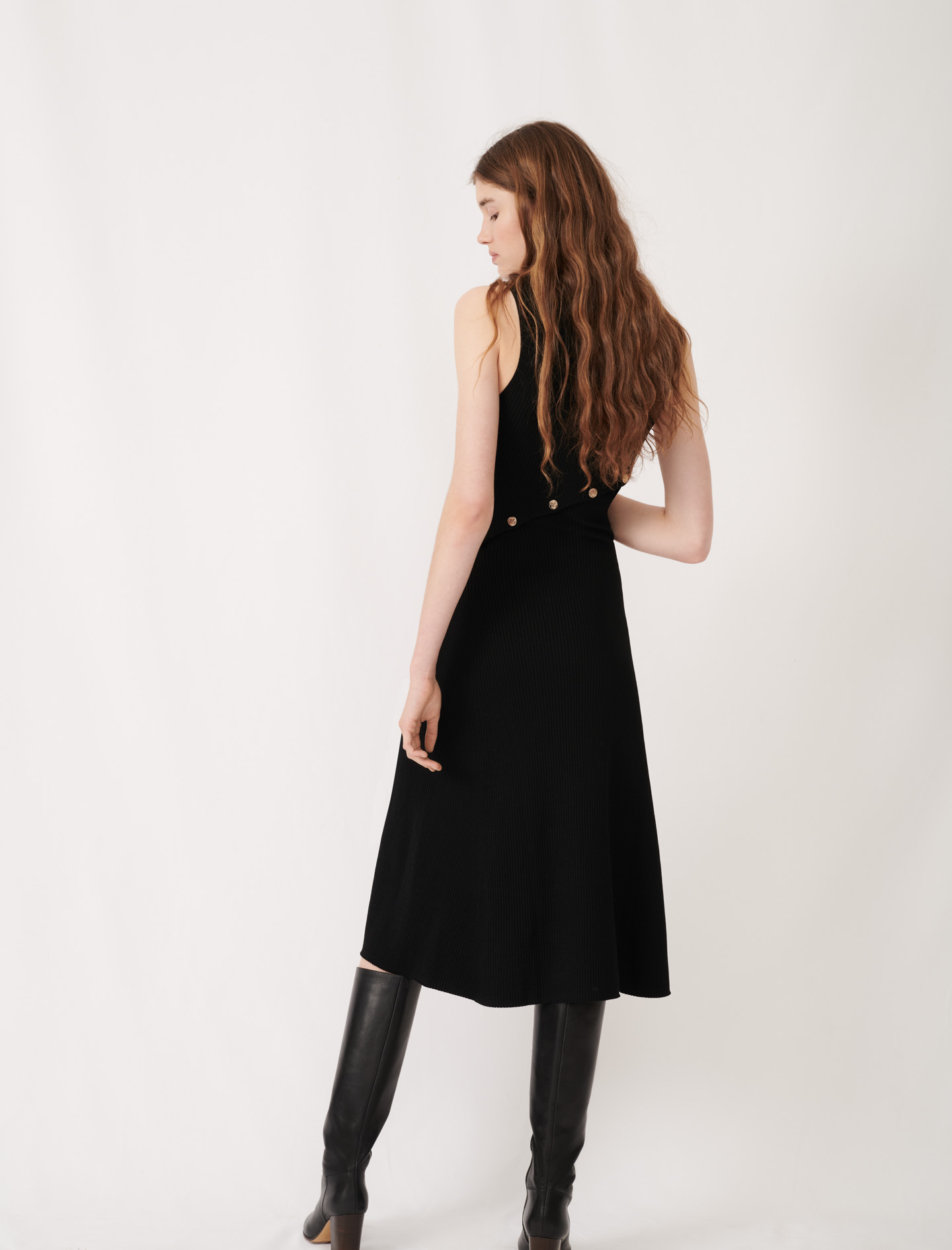 Stretch knit slit dress  - Black