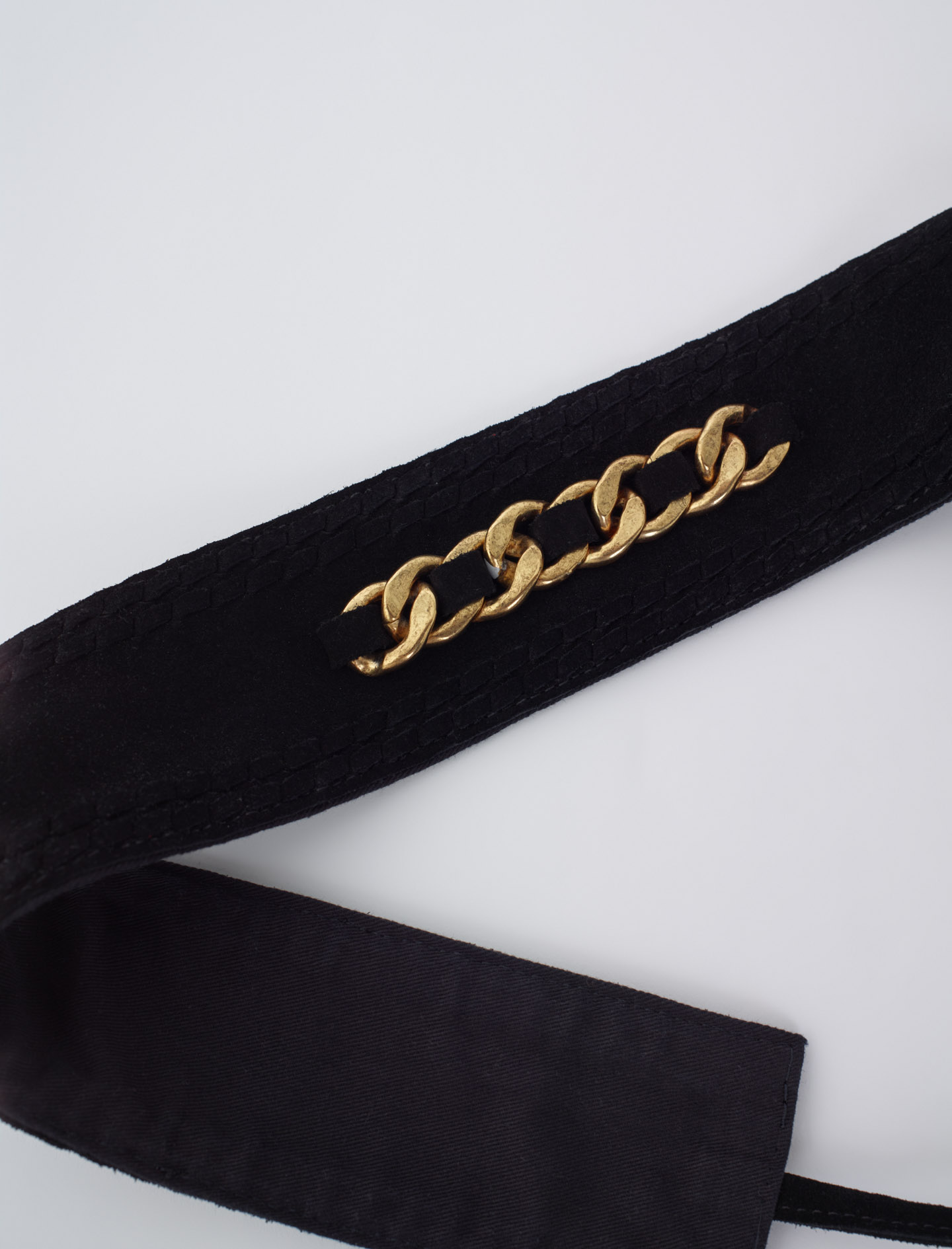 Suede belt with chain - Black