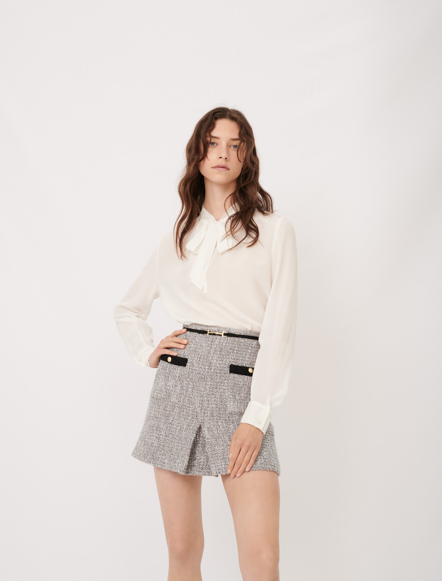 Silk pussy-bow collar top - White