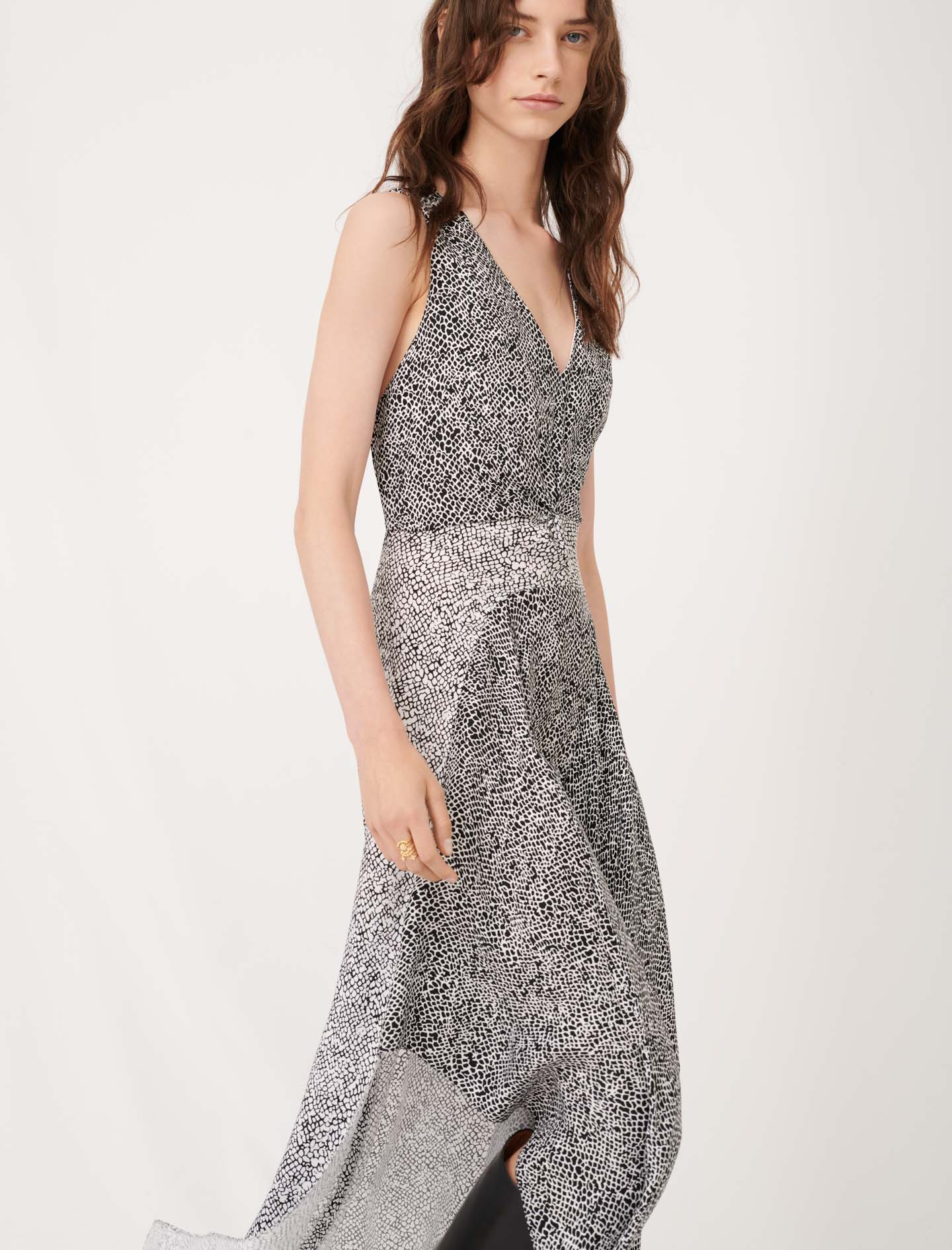 Asymmetric animal print occasion dress  - Multiclr
