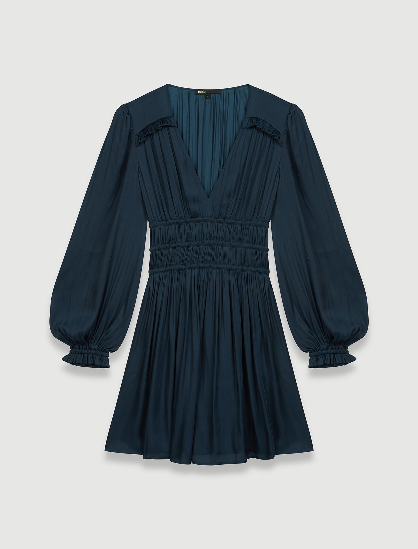 Satin dress with ruffles  - Navy