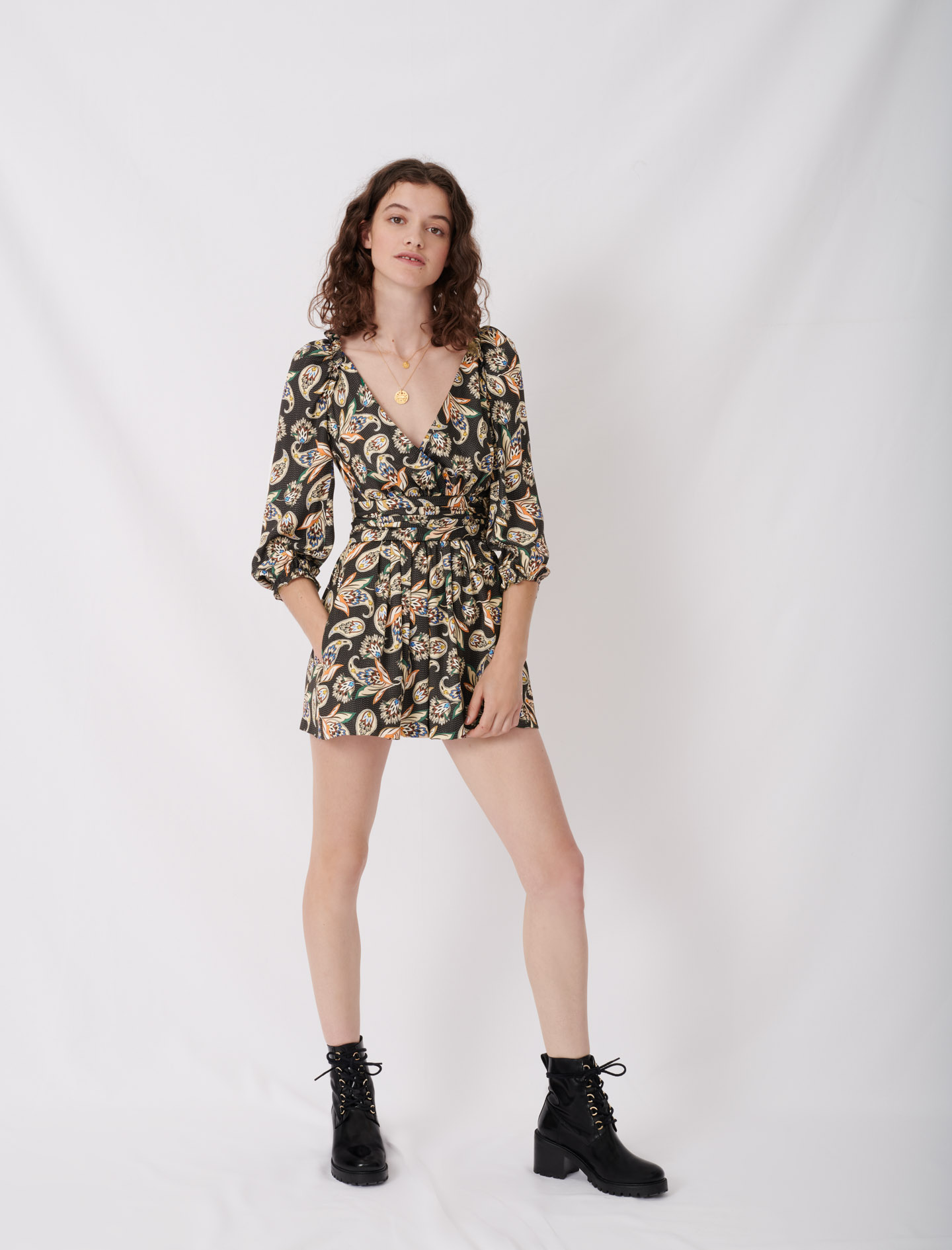 Printed satin playsuit - Multiclr