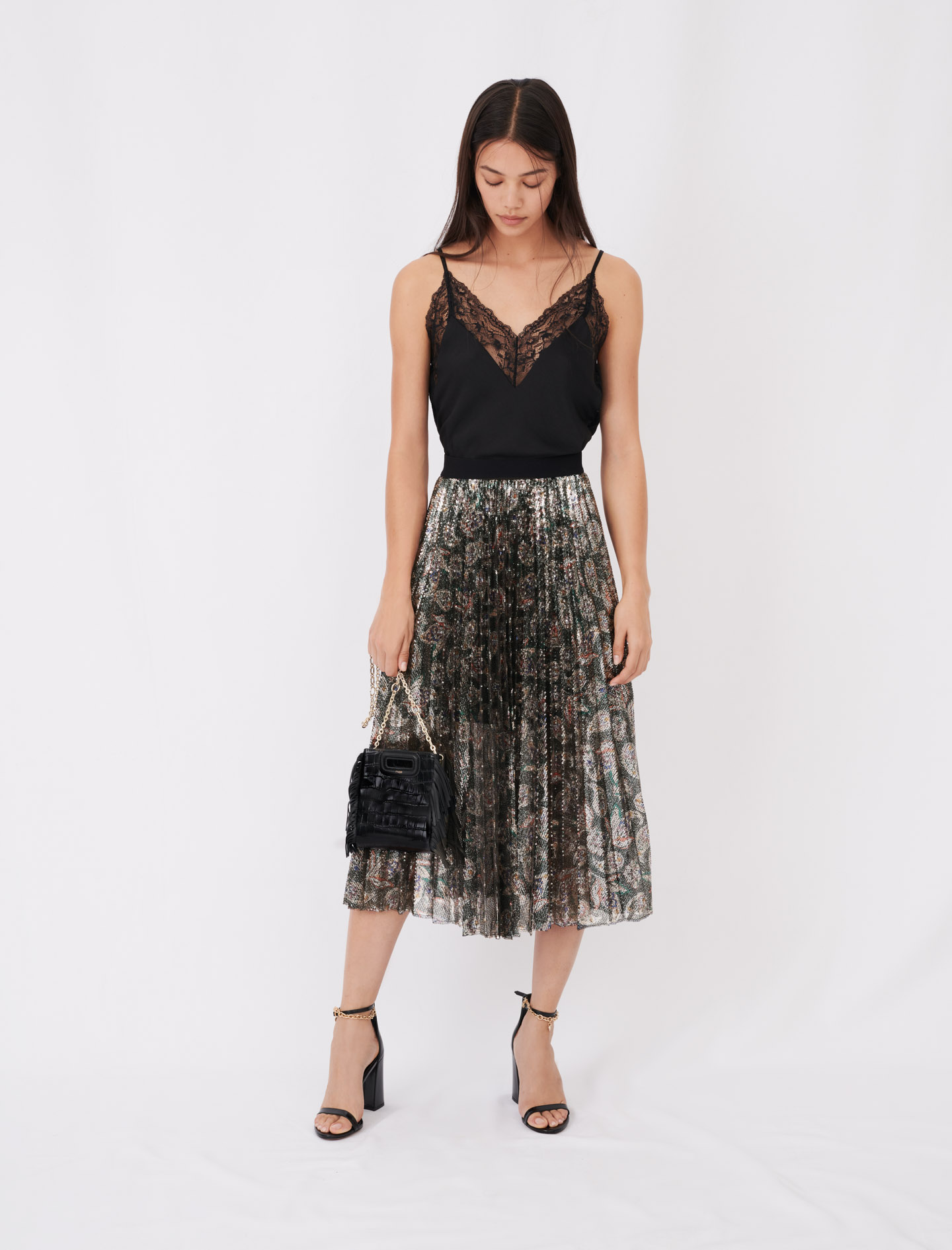 Sequin pleated skirt - Multiclr