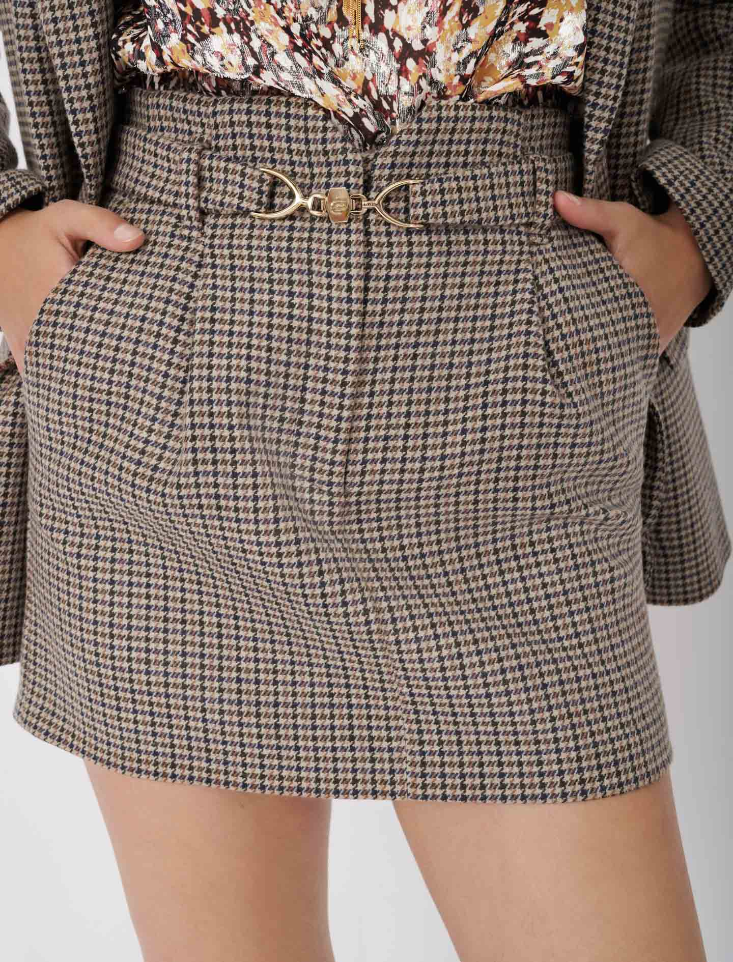 Short checked skirt with belt - Multiclr