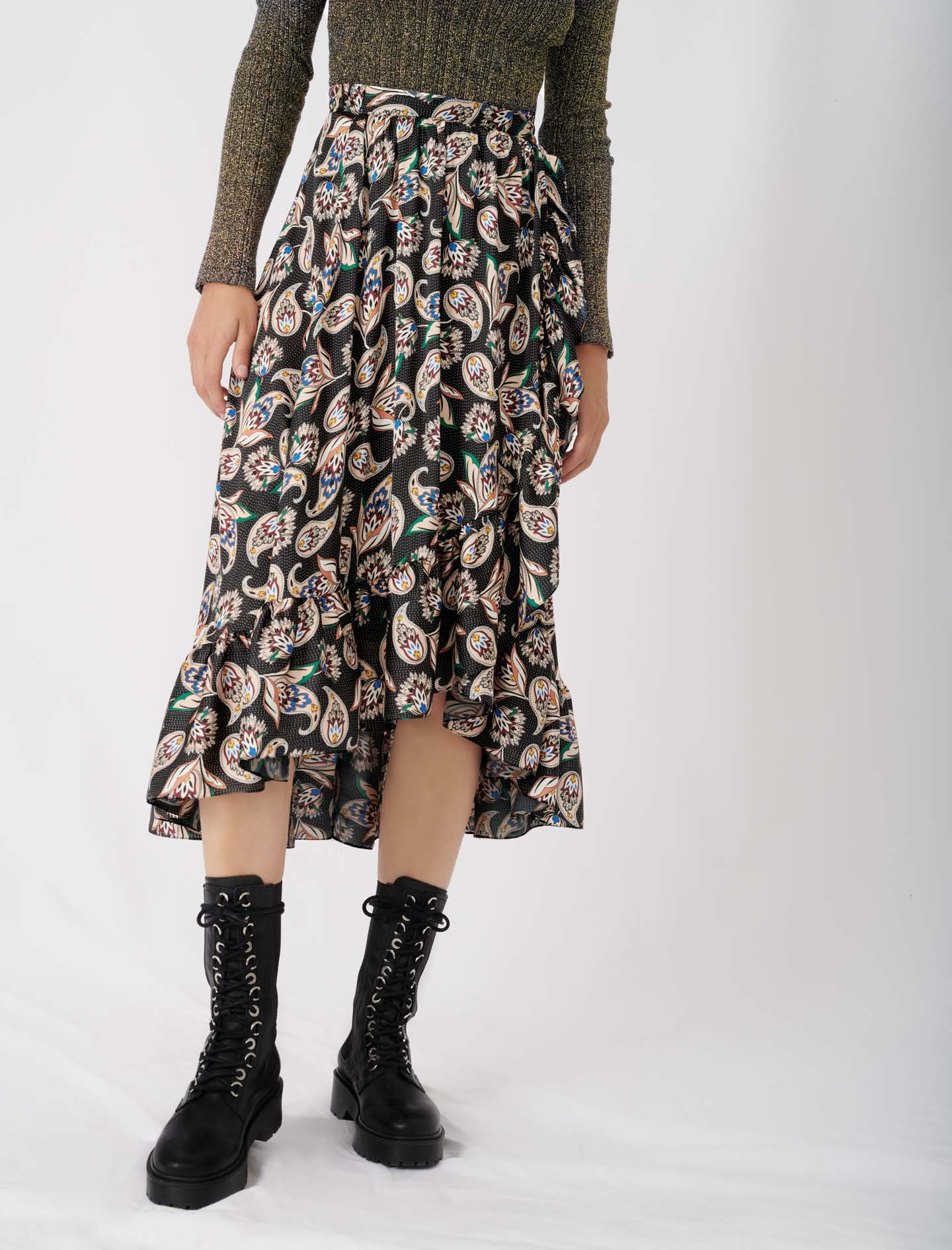Long printed skirt with ruffles - Multiclr