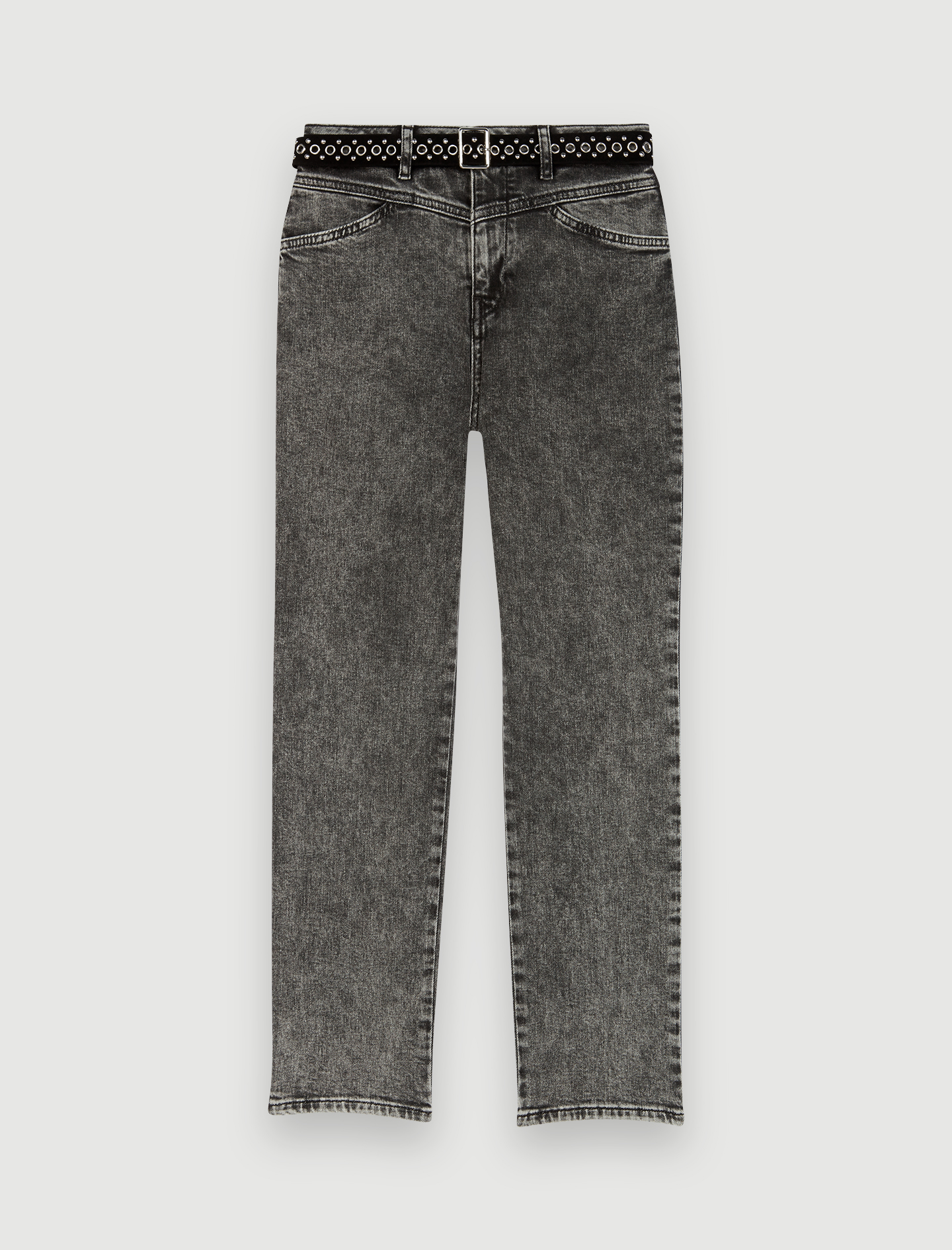 Straight cut jeans with fancy belt - Grey