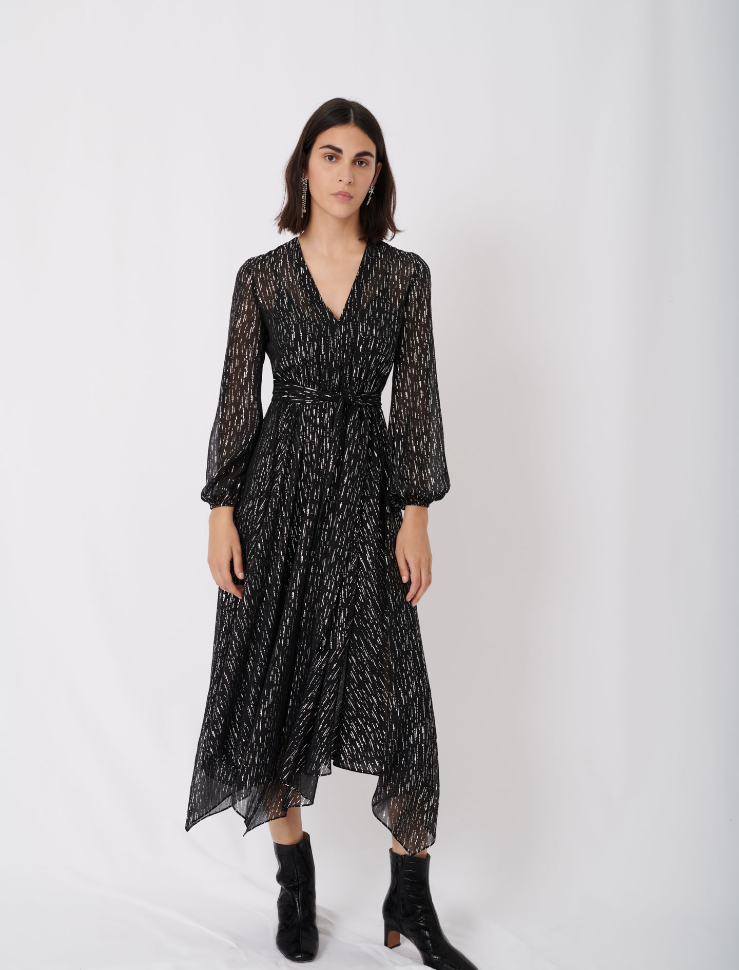 Belted muslin dress with scarf print - Multiclr