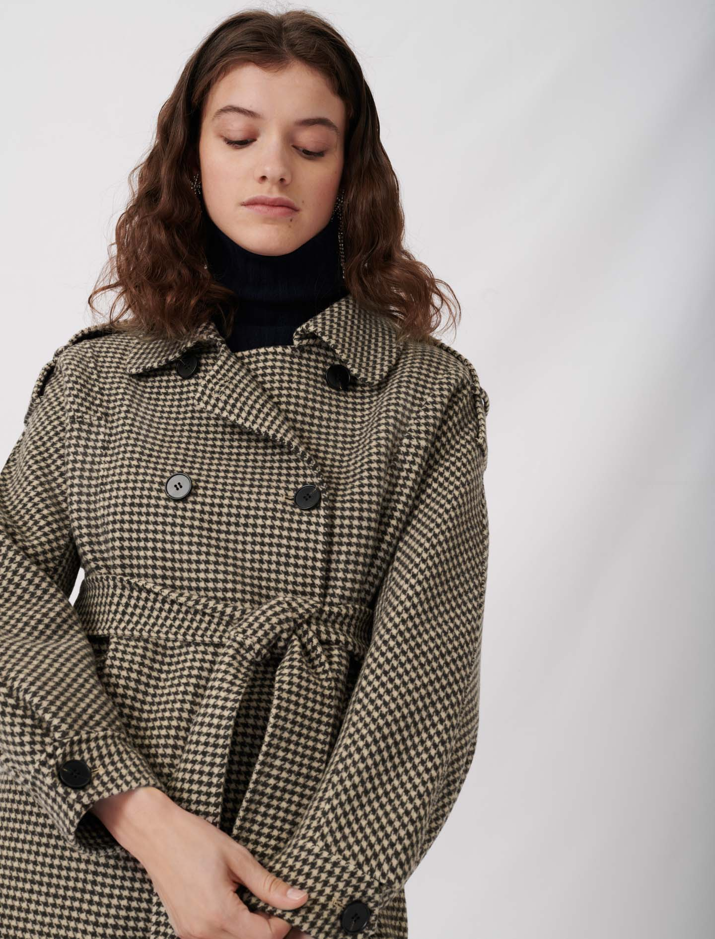 Belted dogtooth coat - Brown