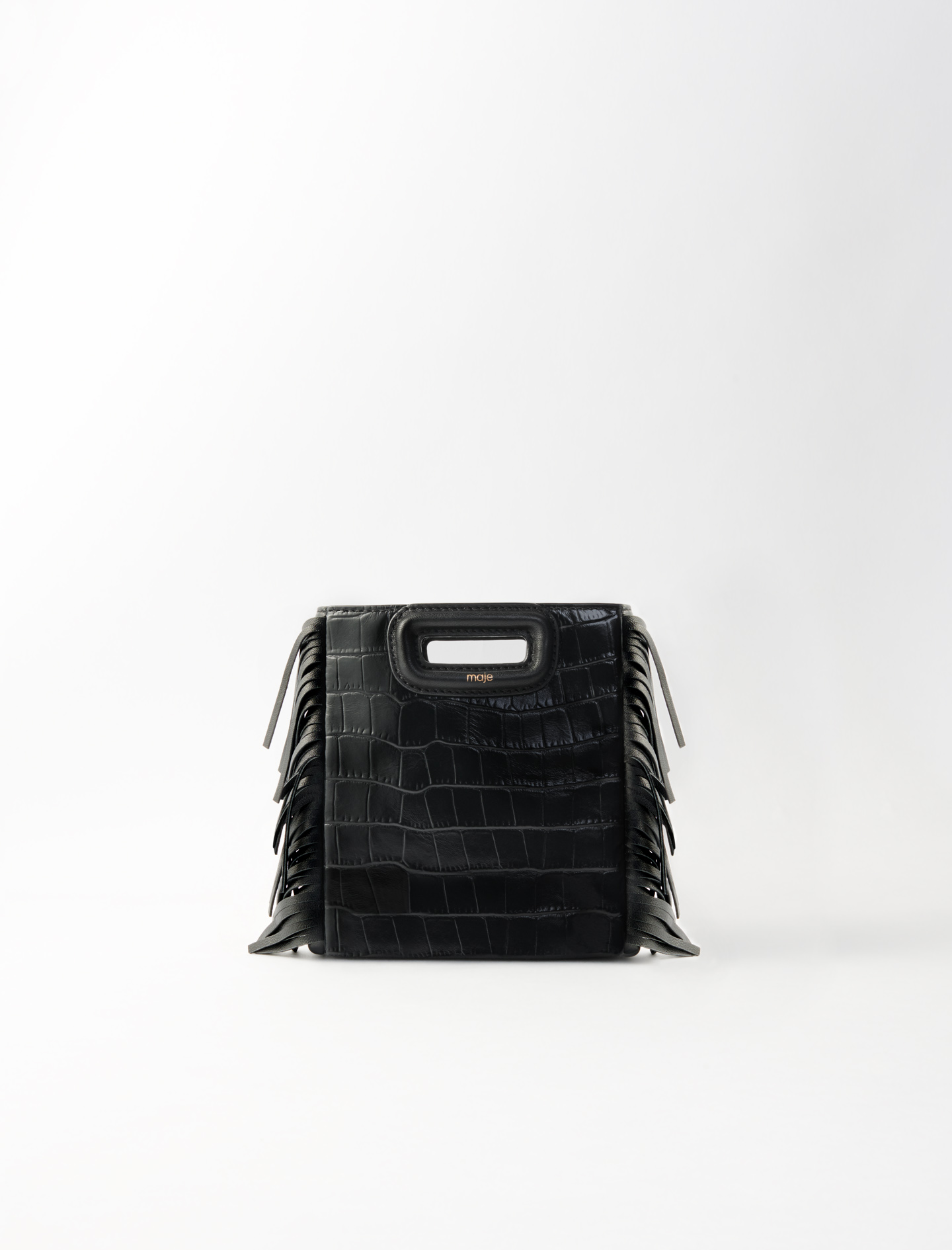 Crocodile-effect leather mini m bag - Black