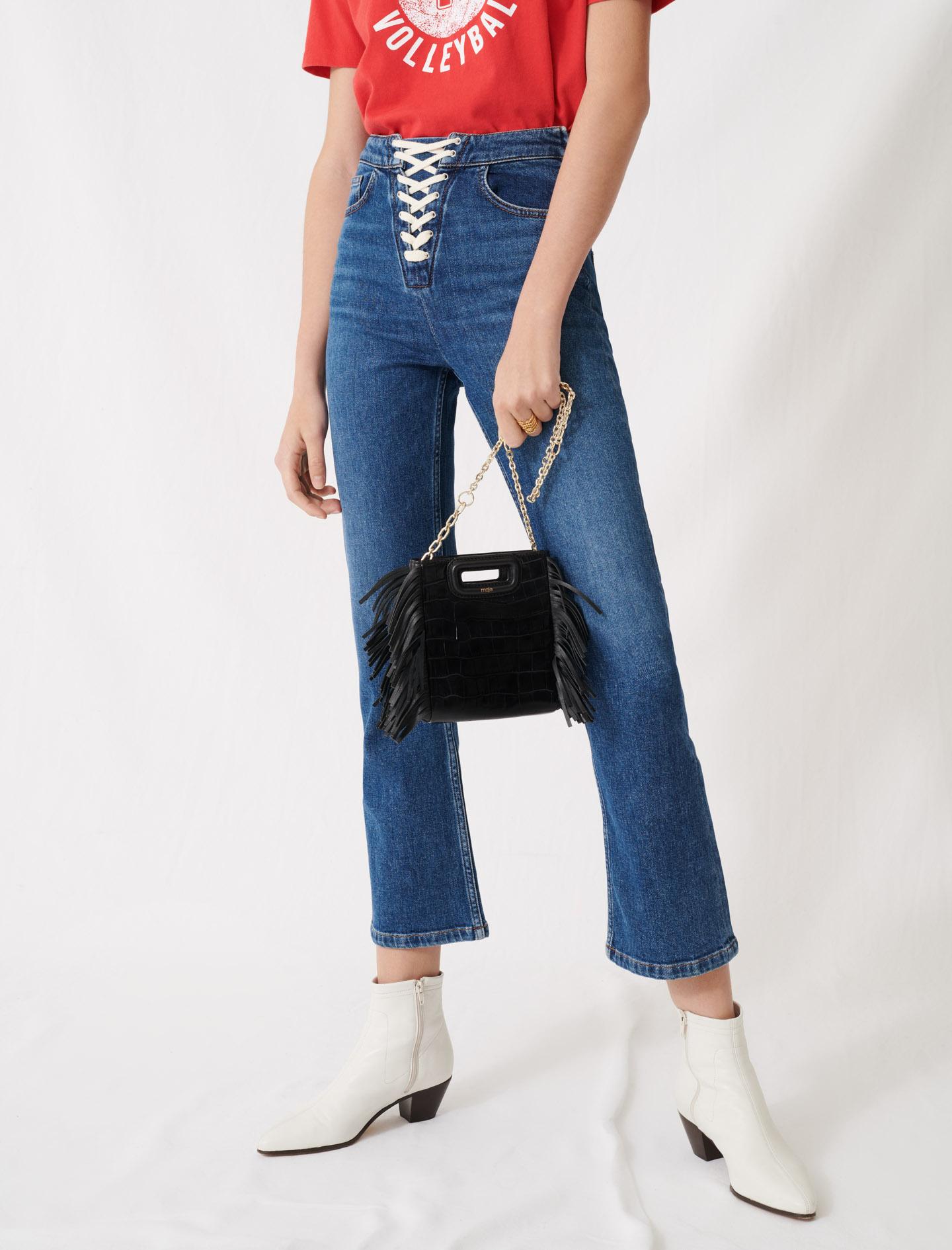 Crocodile-effect leather mini m bag - Black