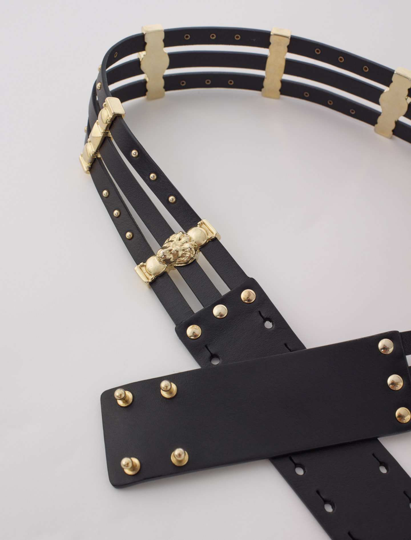 Leather belt with gold-tone details - Black
