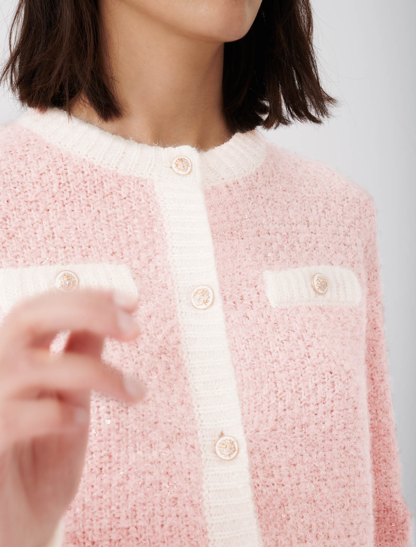 Cardigan with lurex threads - Pink