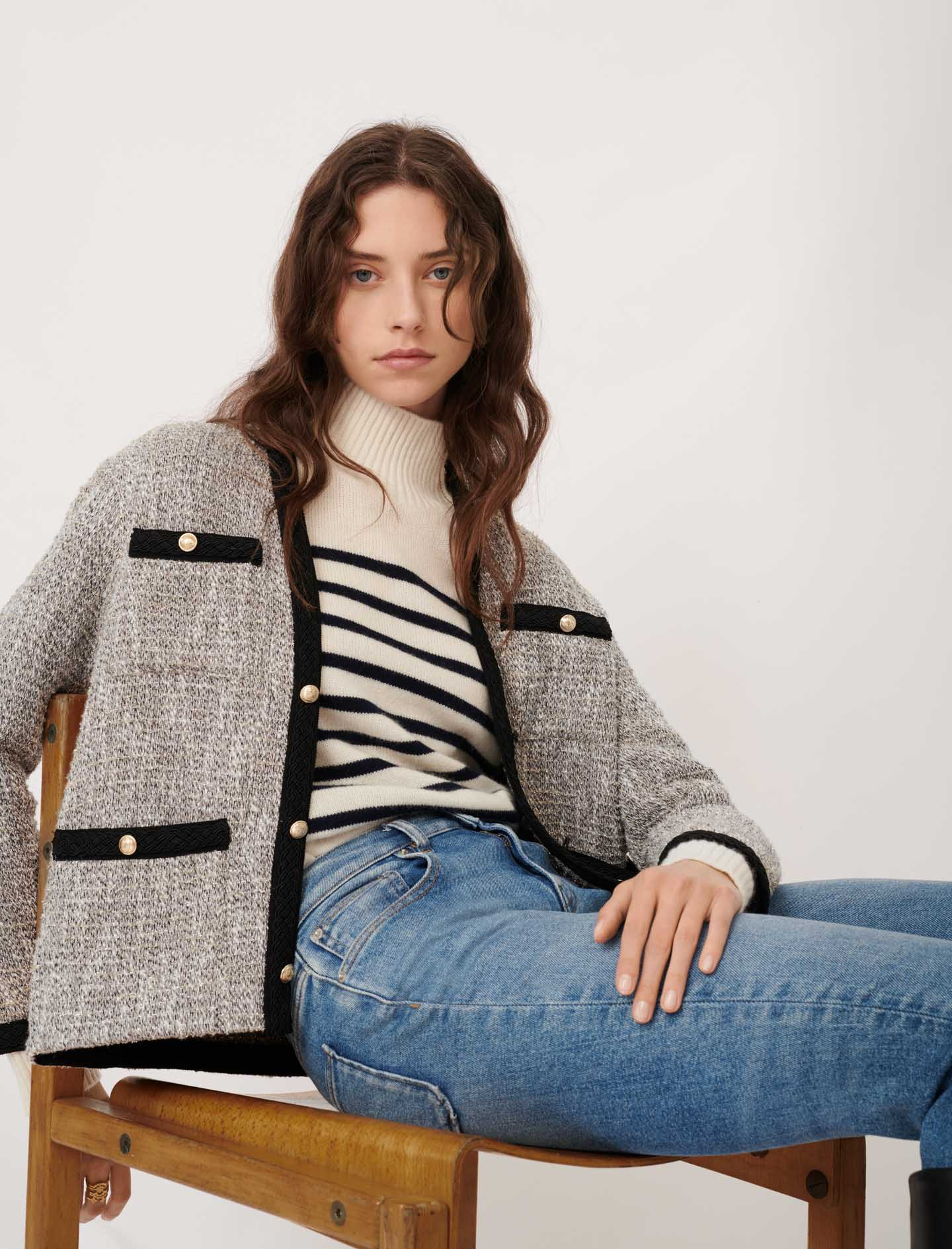 Tweed-style jacket with contrast details - Silver