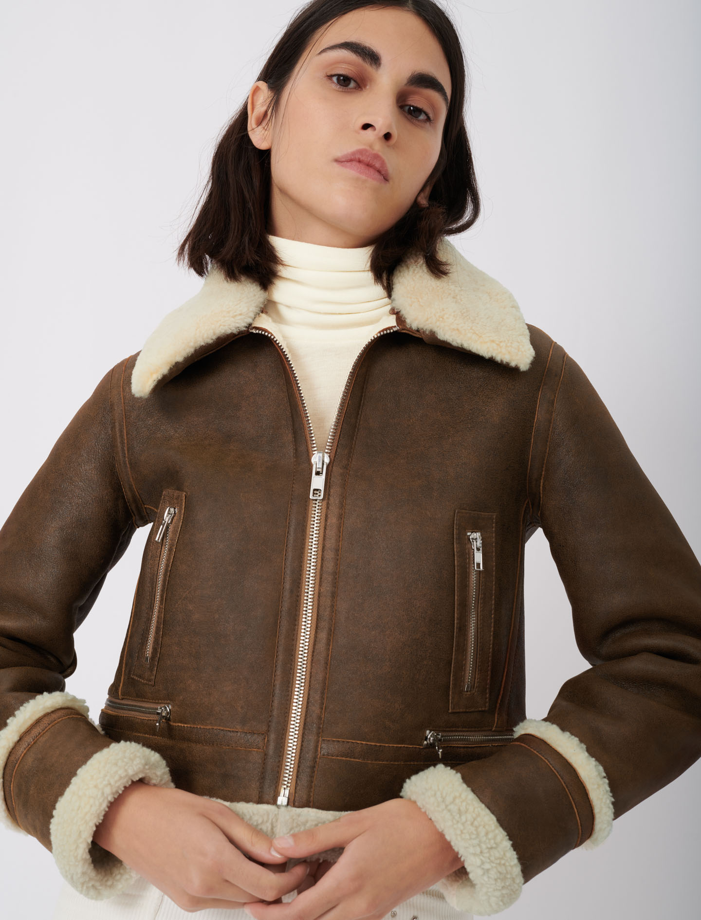 Maje  Leather and faux fur jacket