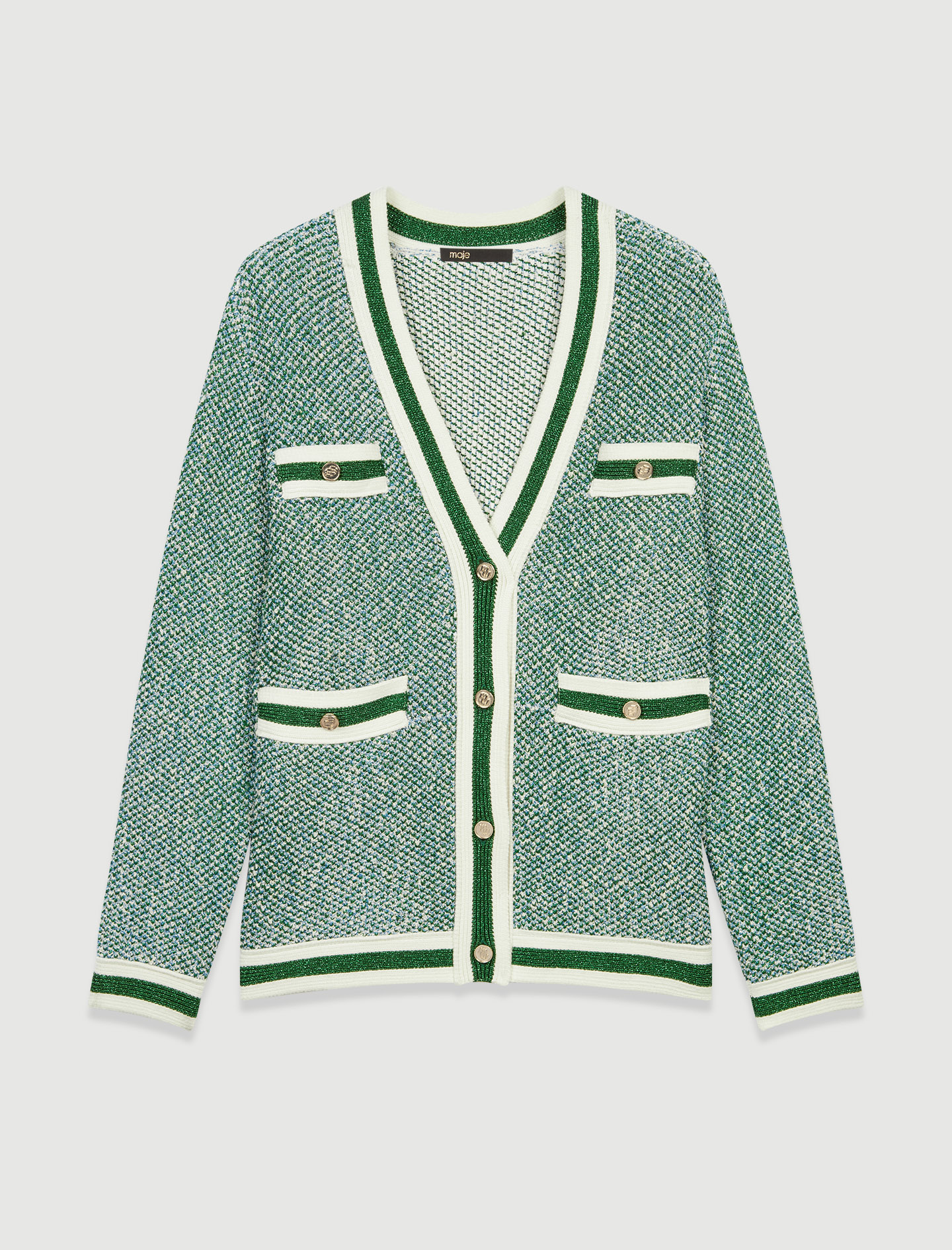 Fancy green knit cardigan - Multiclr