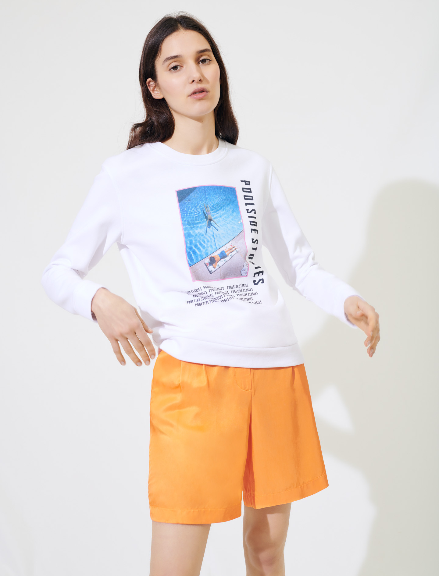 White screen printed sweatshirt - Multiclr