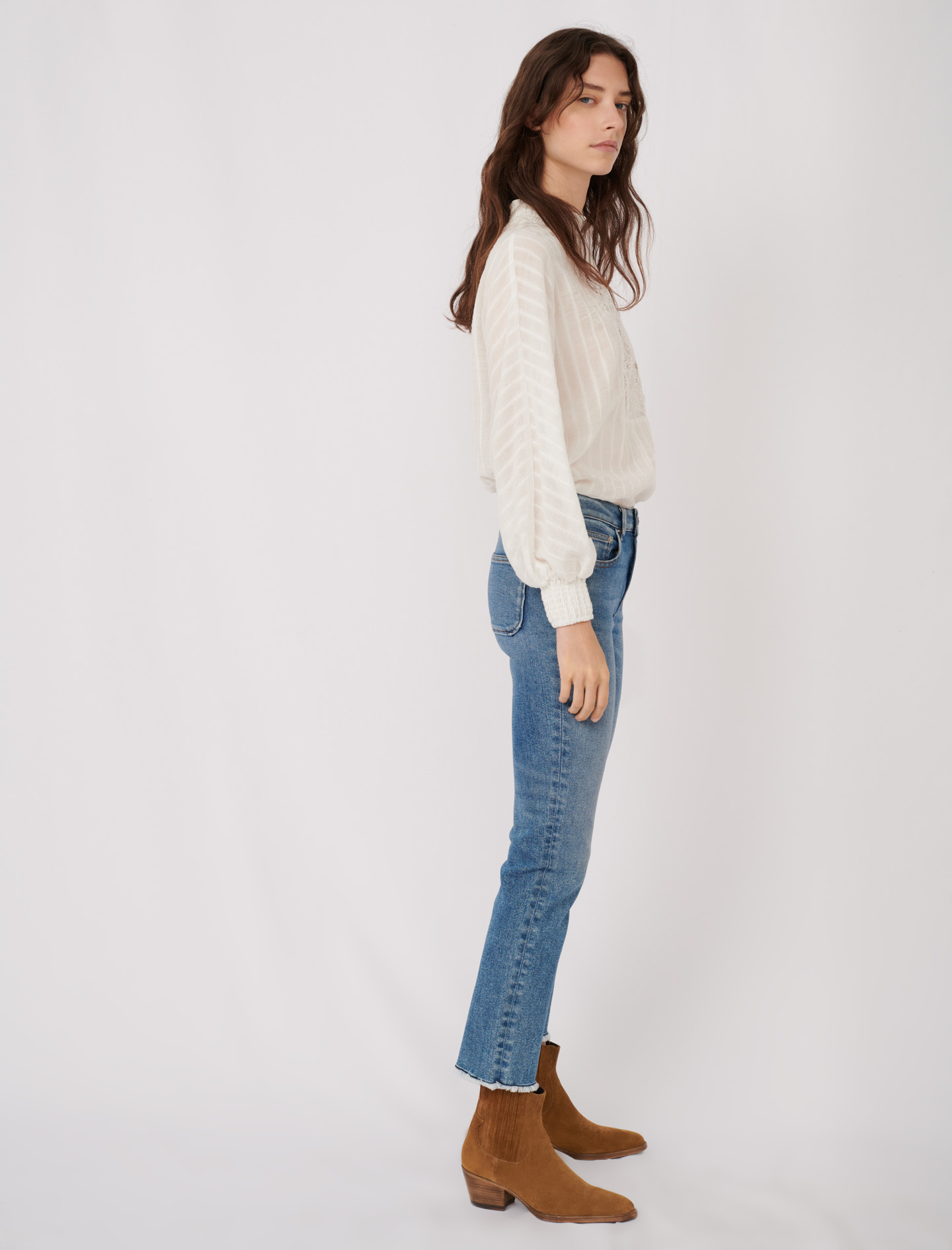 Straight cut jeans with fringing - Blue