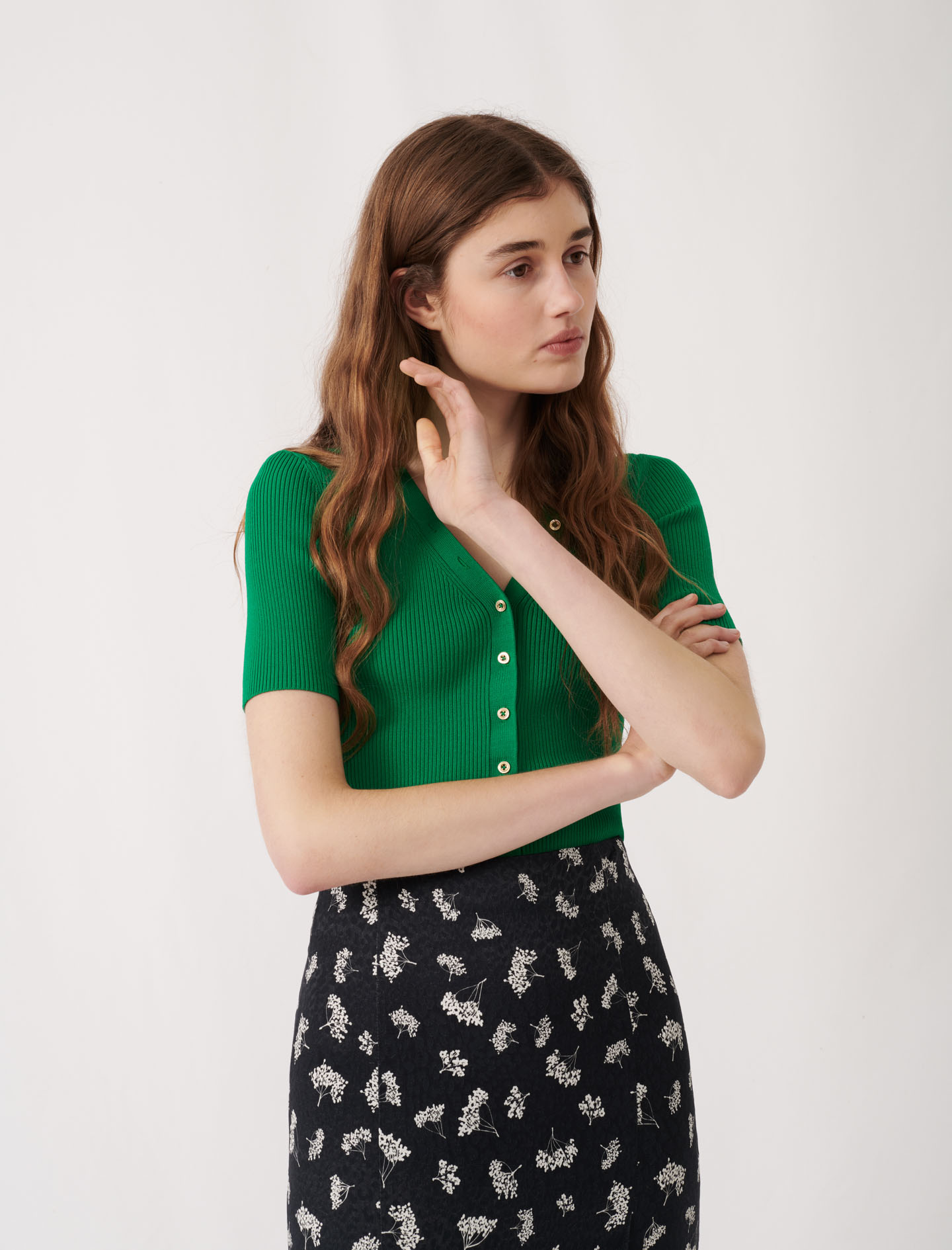 Lightweight short-sleeved jumper - Green
