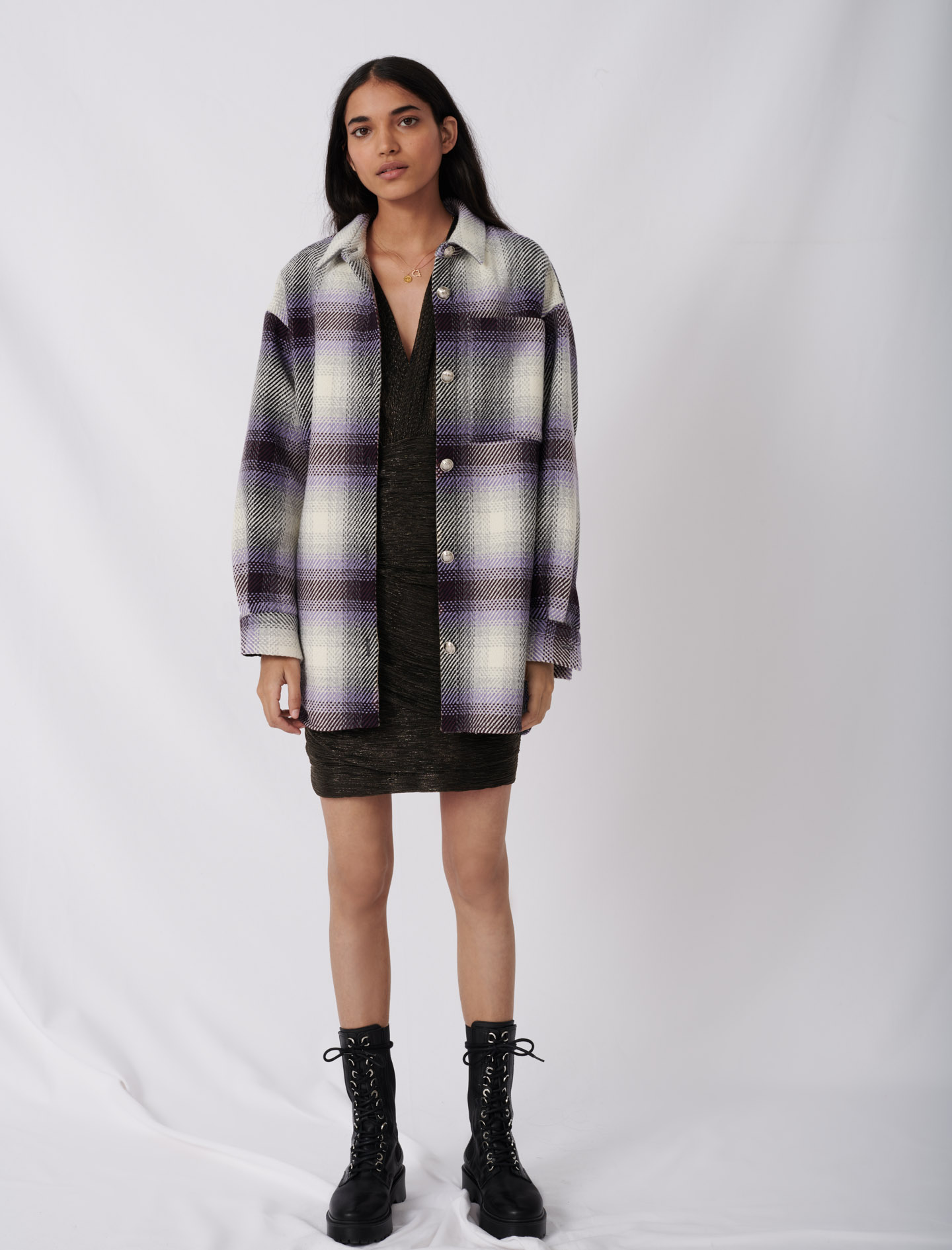Checked overshirt style jacket - Purple