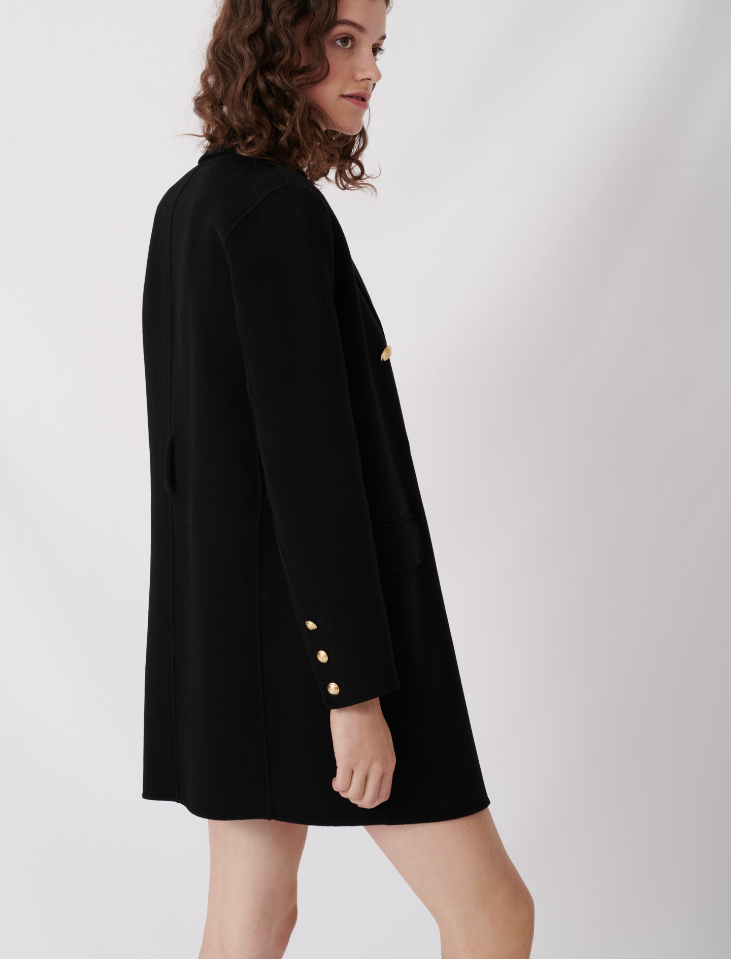 Belted coat in recycled wool - Black