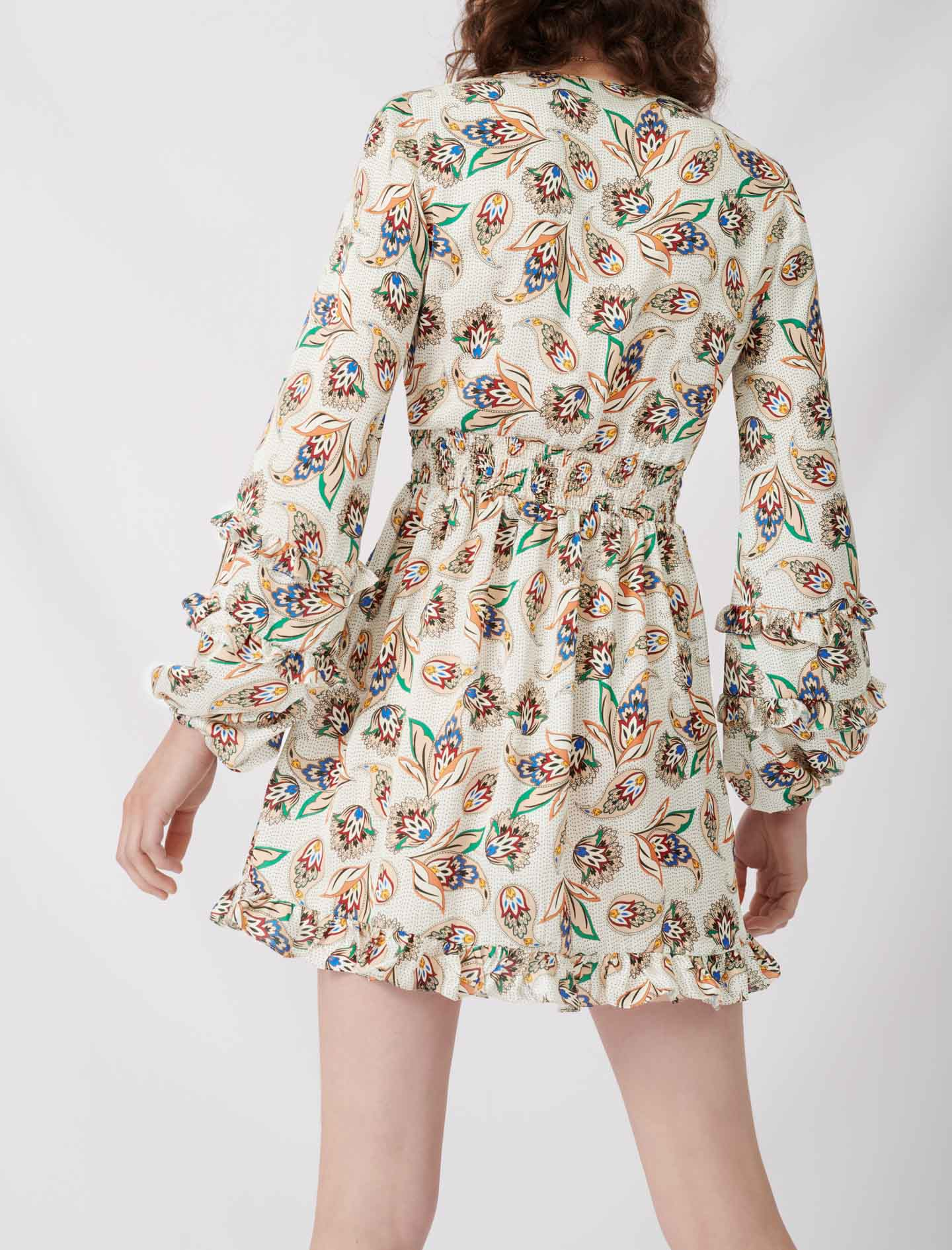 Printed silk dress with ruffles - Multiclr