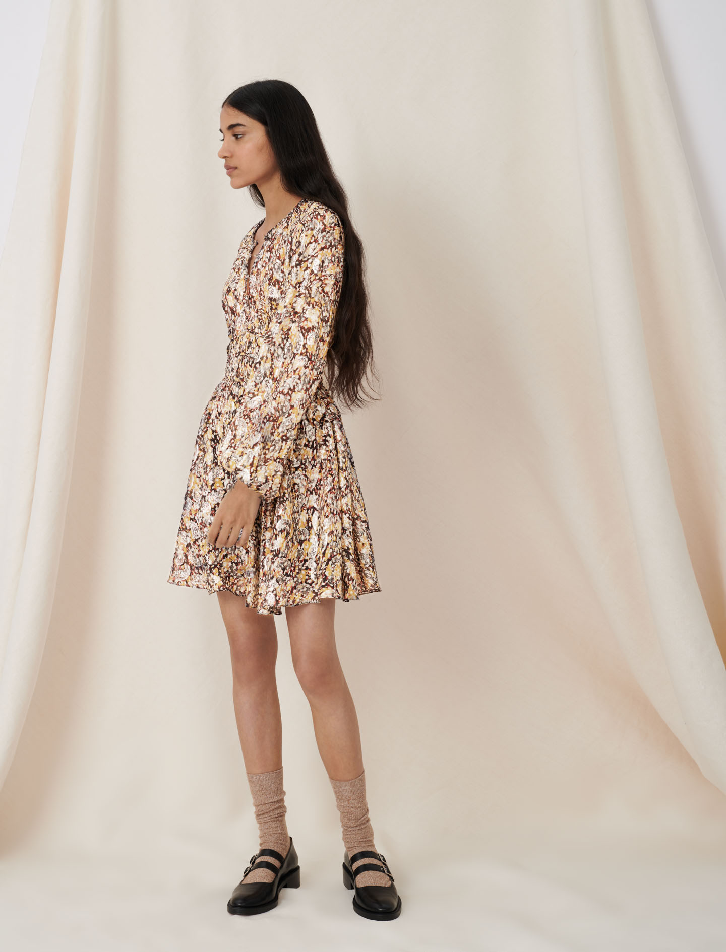 Lurex jacquard dress with animal print - Multiclr
