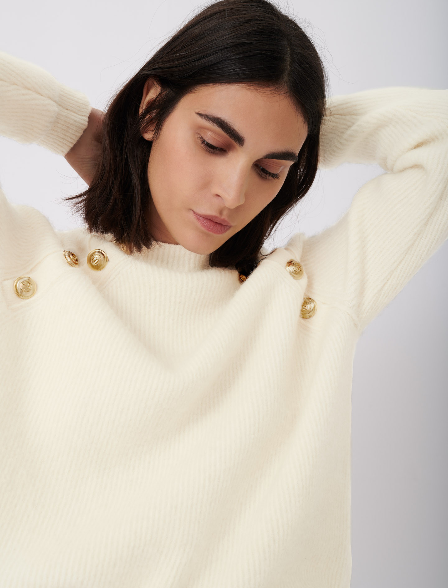 High neck ribbed sweater with buttons - Ecru