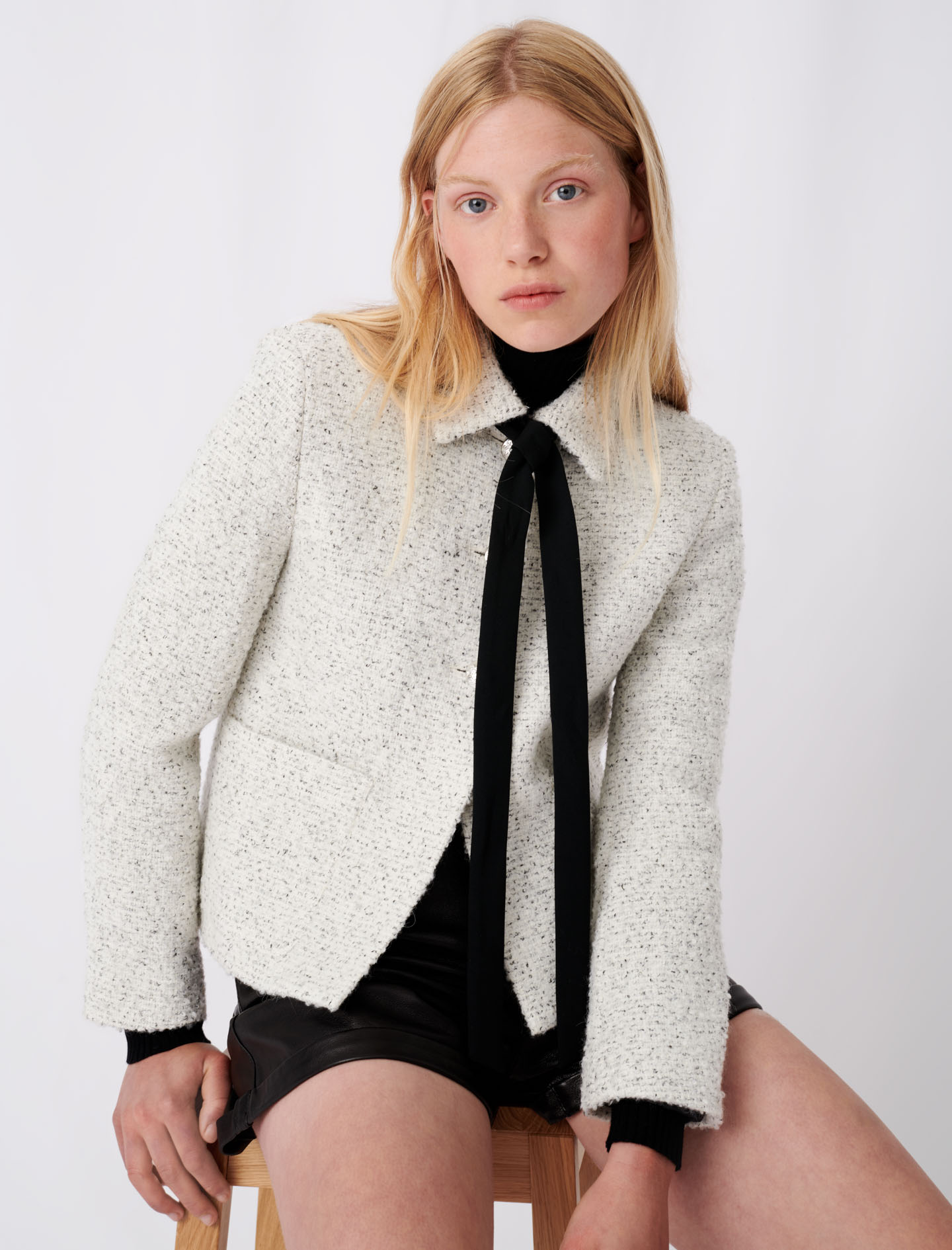 Tweed style pussy bow jacket - Multiclr