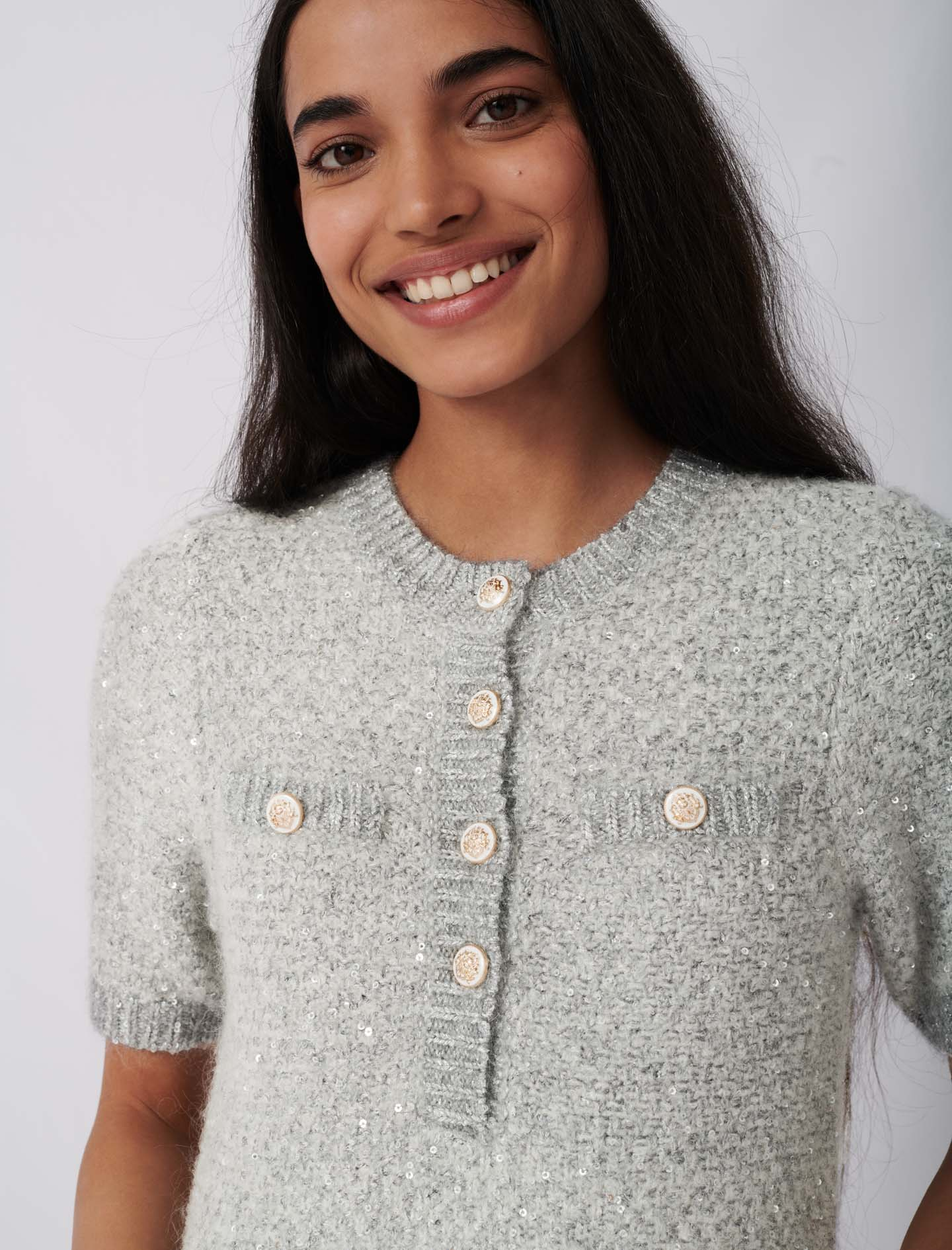 Lurex dress with fancy buttons - Grey