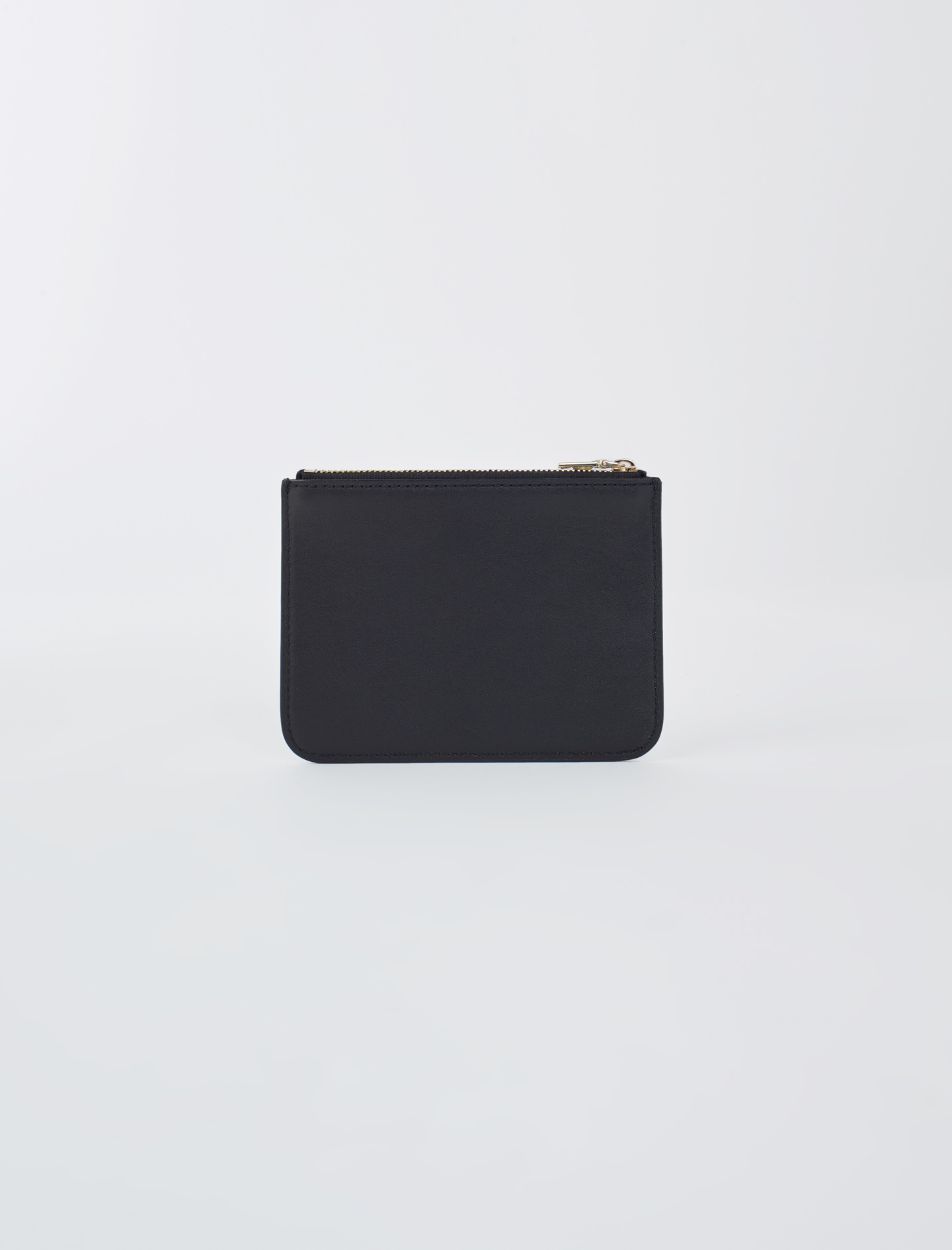 Zip-up embossed leather pouch - Black