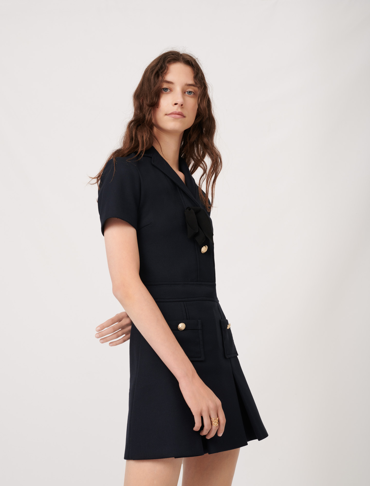 College-style dress with fancy buttons - Navy