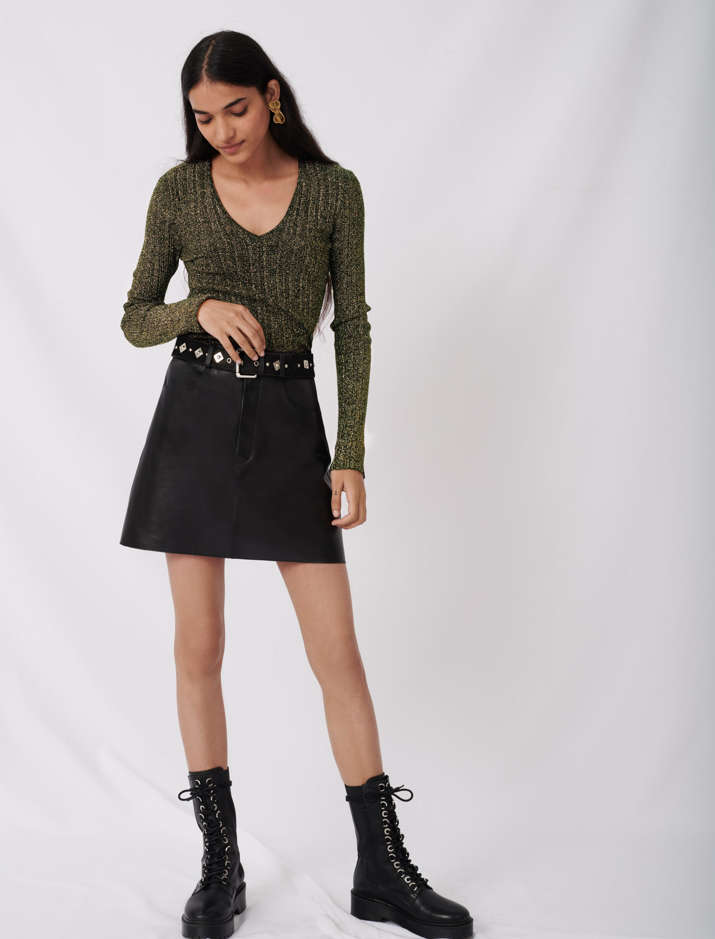 Leather skirt with fancy belt - Black