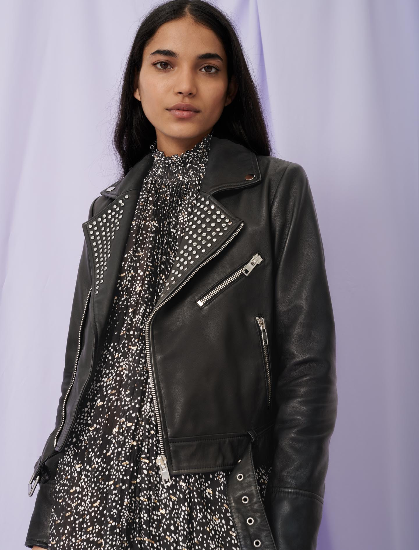 Leather biker-style jacket with studs - Black