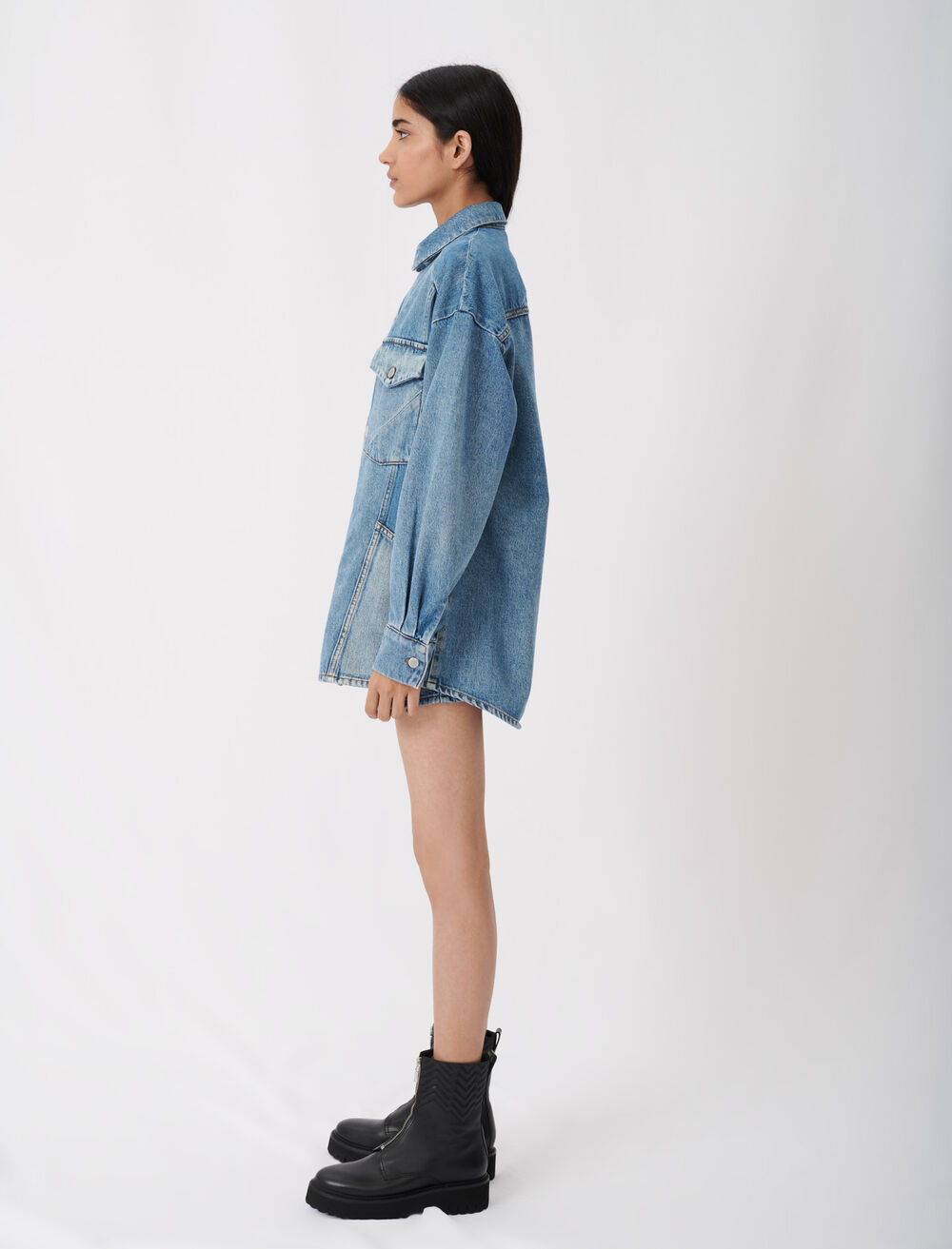 Patched denim overshirt